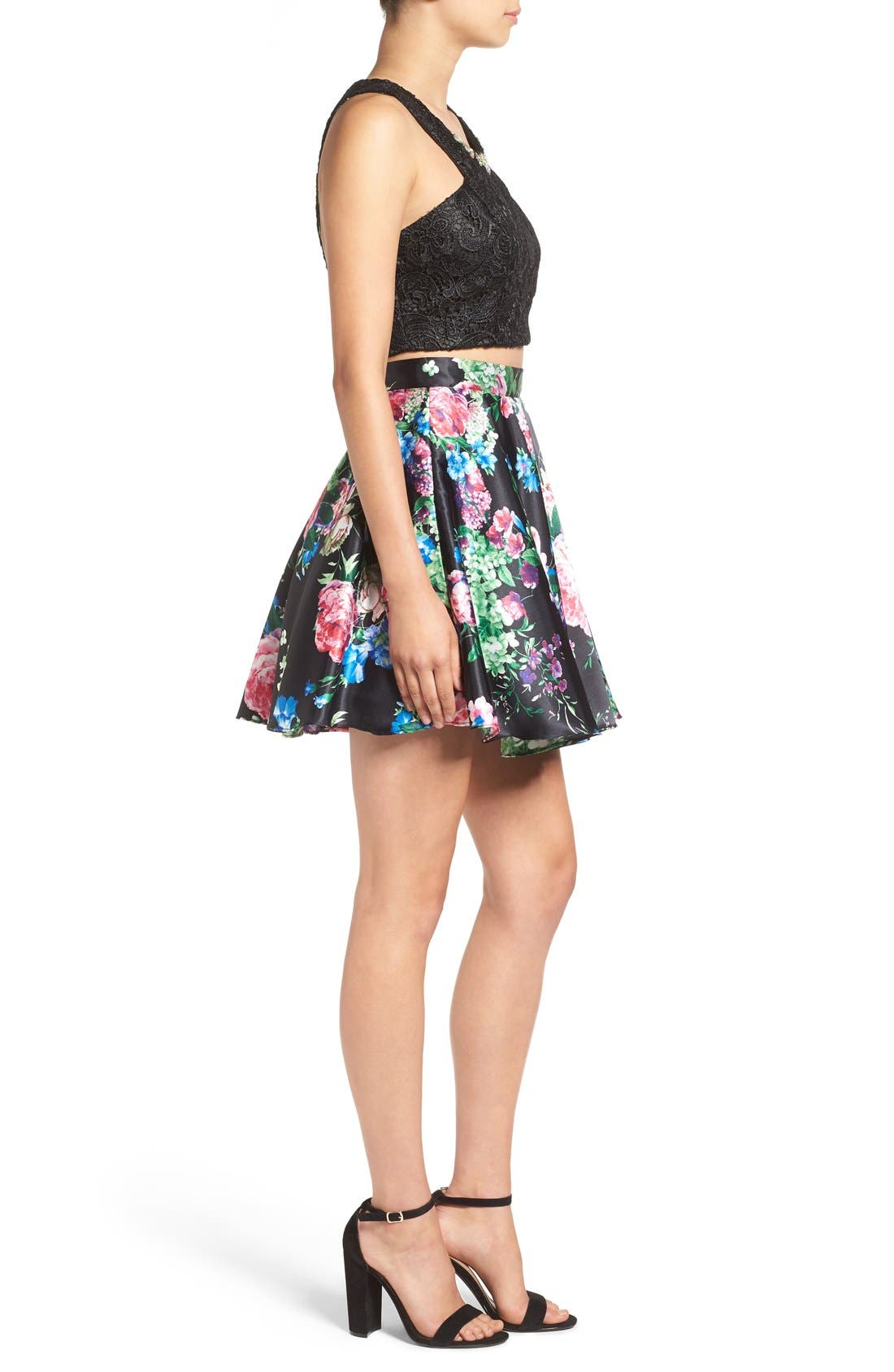 Alternate Image 3  - Steppin Out Lace & Floral Two-Piece Dress