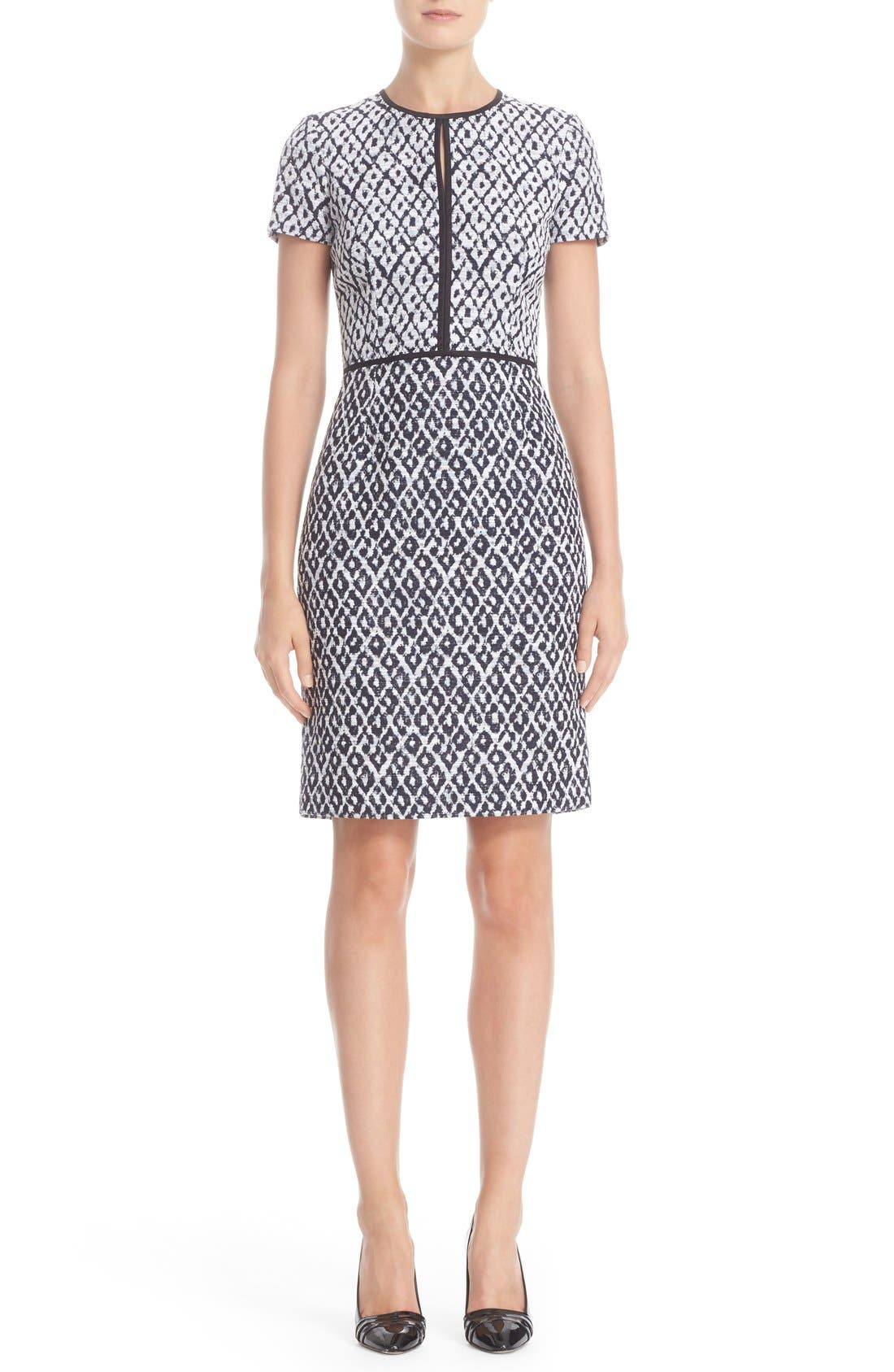 OSCAR DE LA RENTA Diamond Jacquard Keyhole Dress