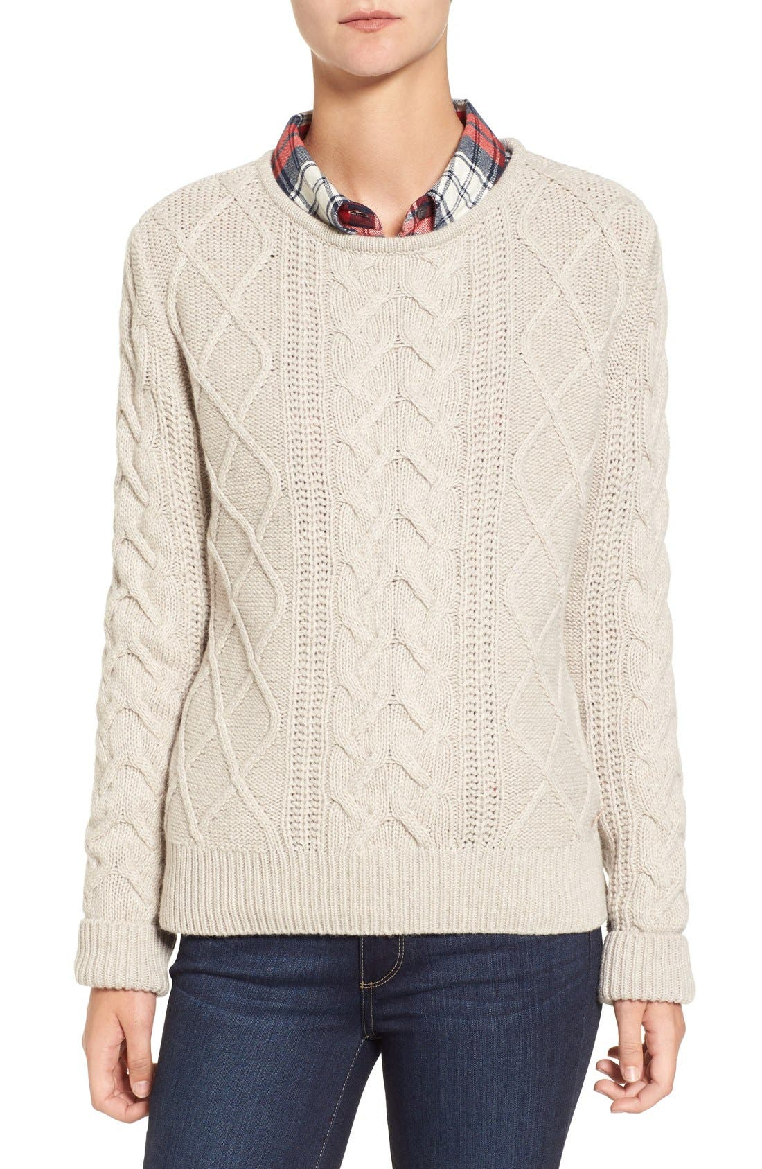 Main Image - Barbour 'Tidewater' Cable Knit Crewneck Sweater