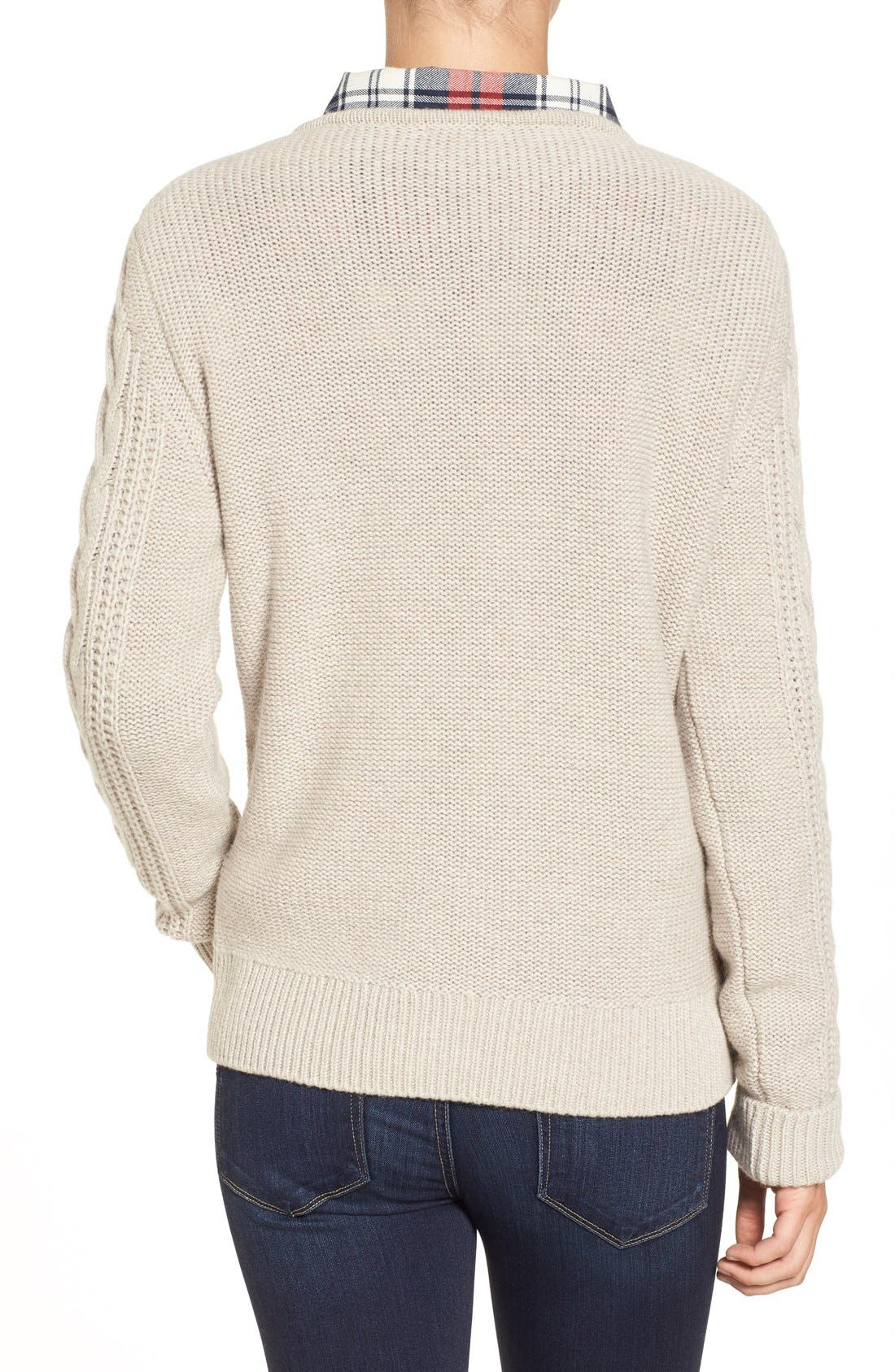 Alternate Image 2  - Barbour 'Tidewater' Cable Knit Crewneck Sweater