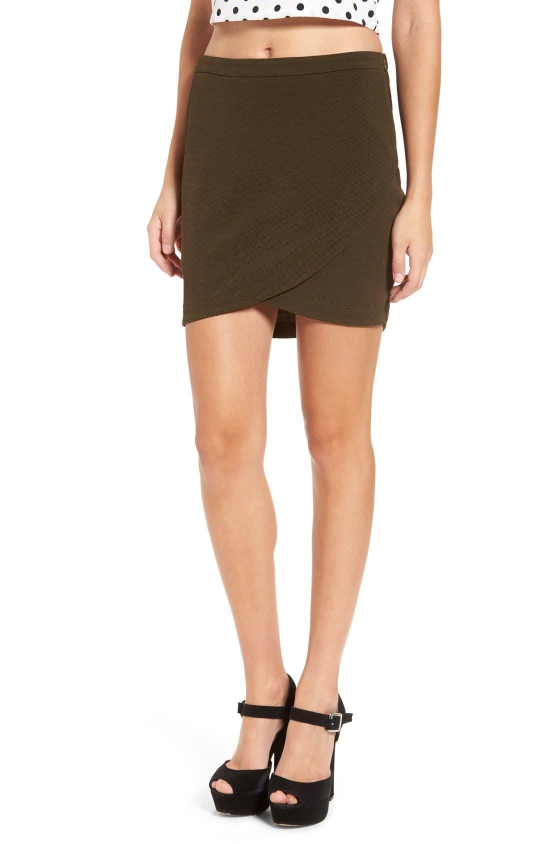 Main Image - June & Hudson Piqué Wrap Front Miniskirt