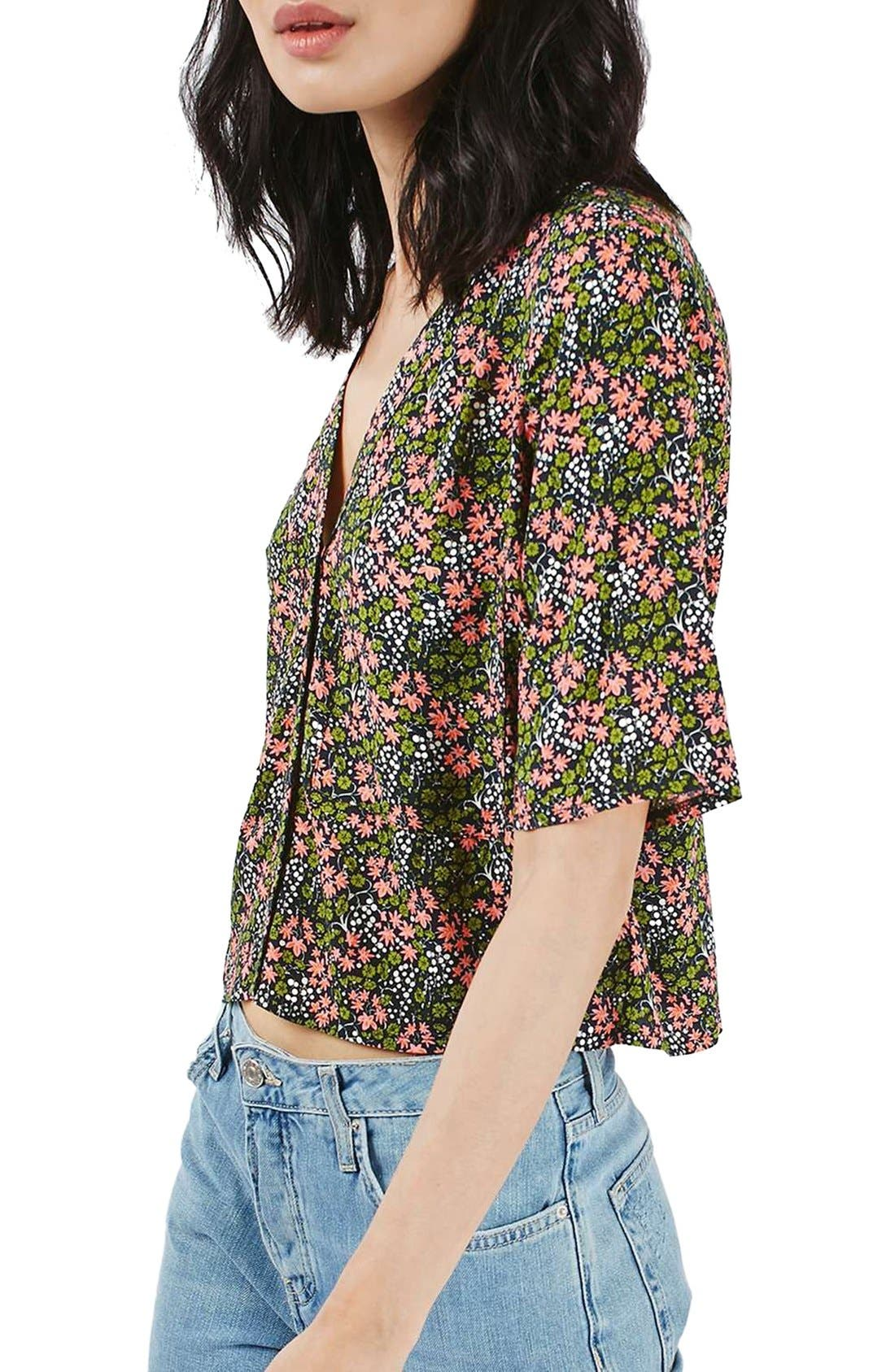 Alternate Image 4  - Topshop 'Holly' Ditsy Floral Print Shirt