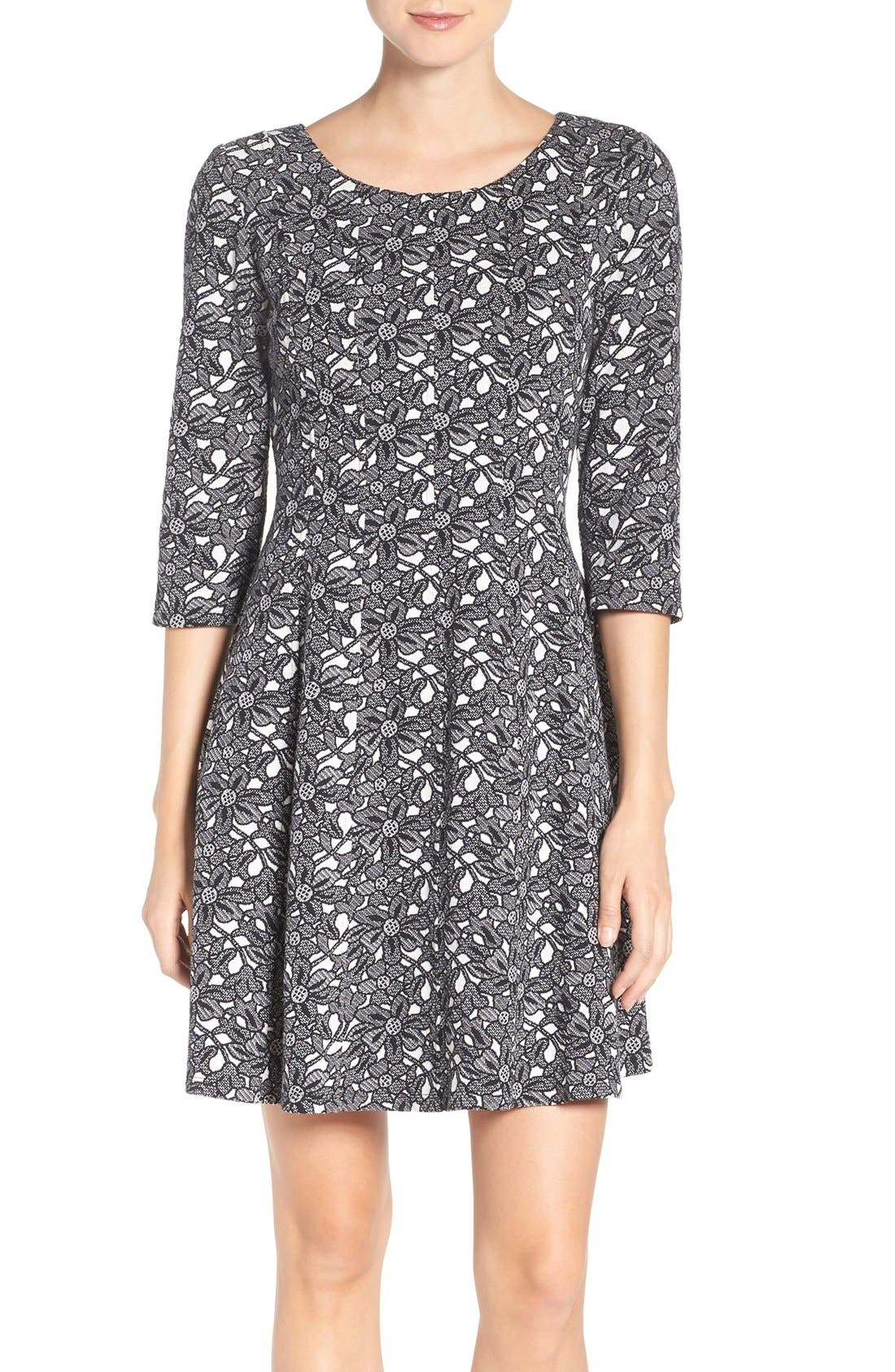 TAYLOR DRESSES Floral Jacquard Fit & Flare Dress