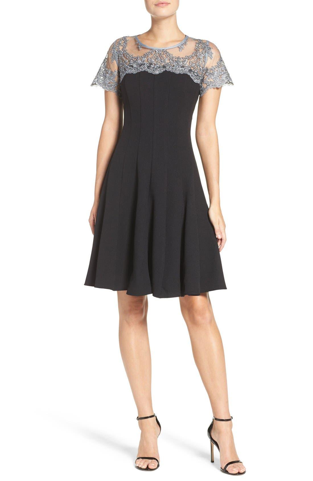 Alternate Image 4  - Chetta B Lace Yoke Fit & Flare Dress