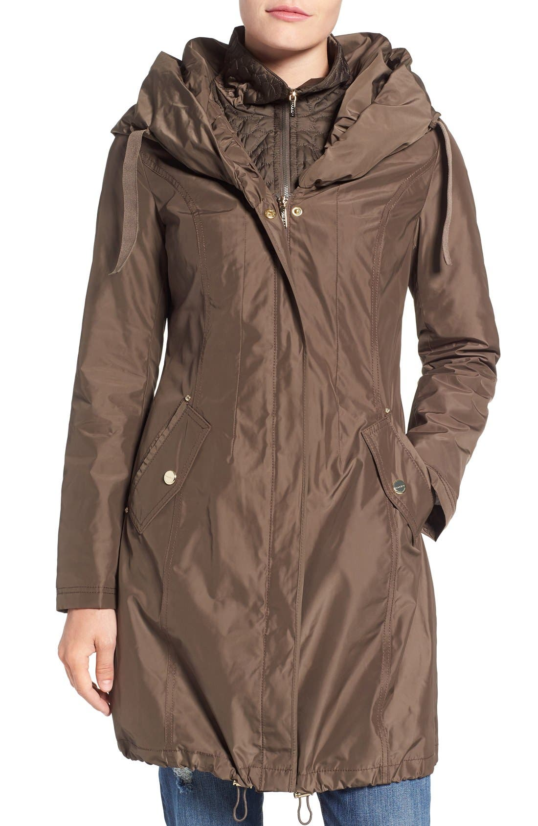 Main Image - Laundry by Shelli Segal Pillow Collar Raincoat with Detachable Quilted Hooded Bib Insert (Regular & Petite)