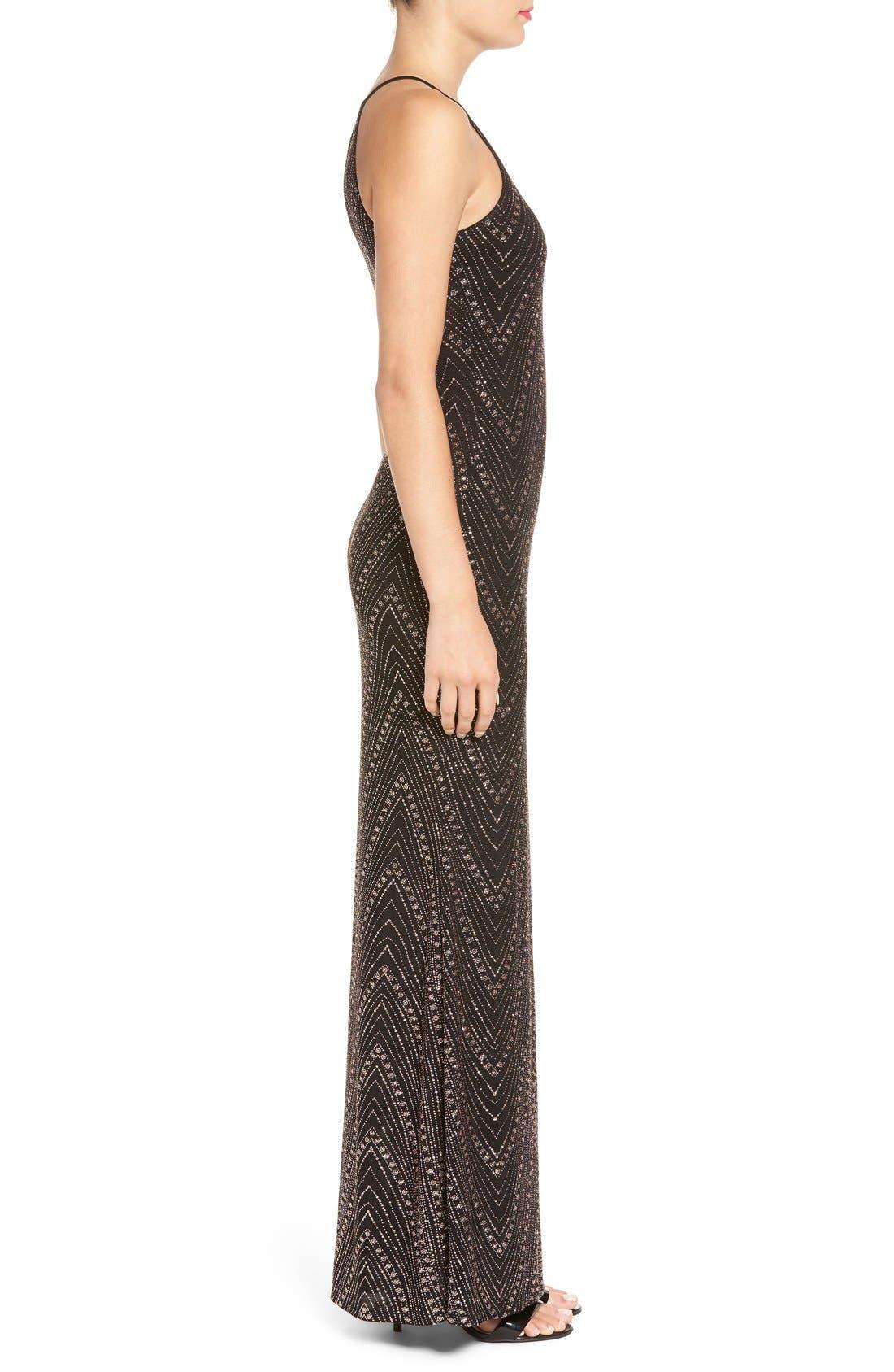 Alternate Image 3  - Jump Apparel High Neck Glitter Gown