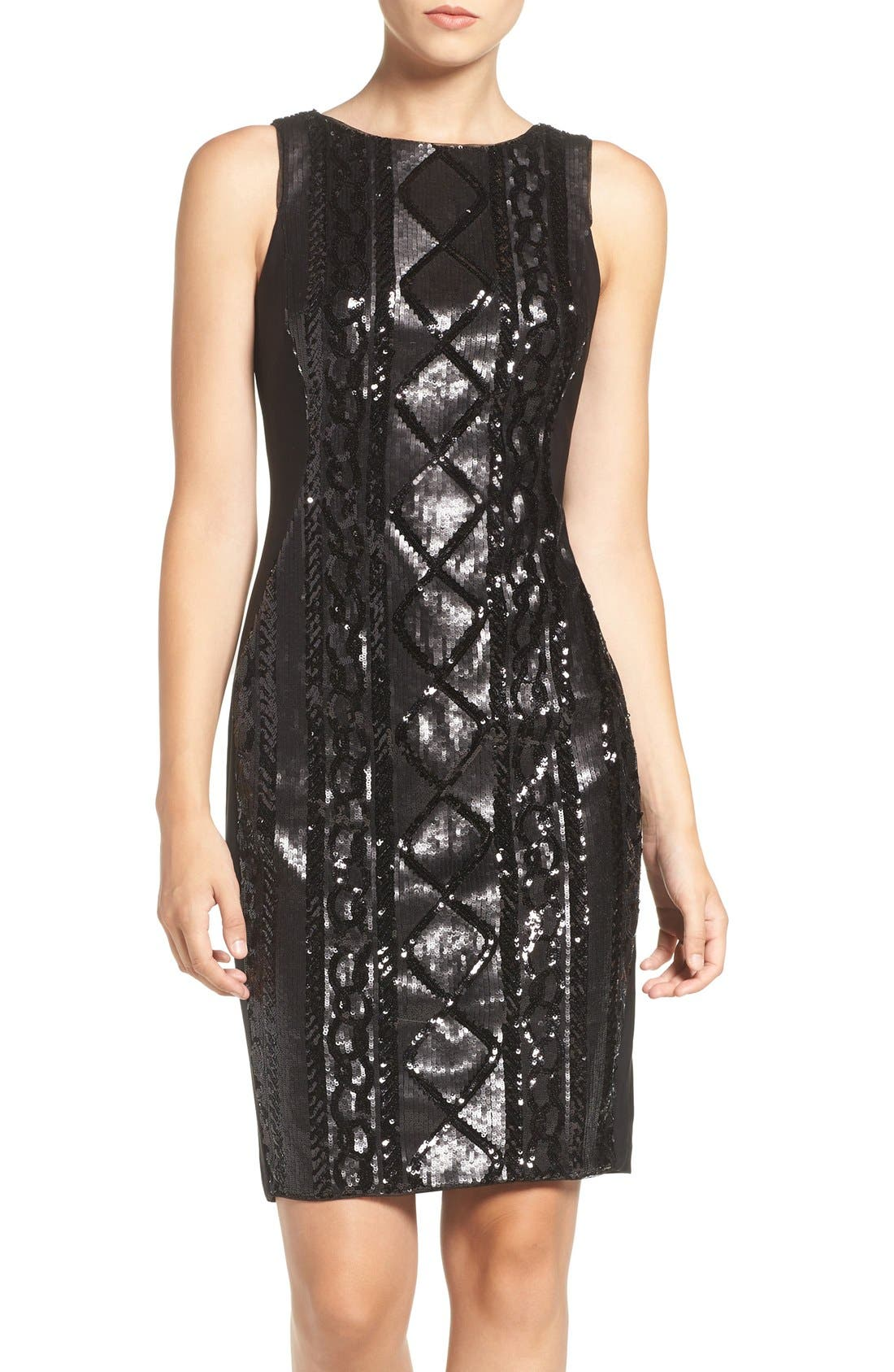 Adrianna Papell Sequin Front Sheath Dress