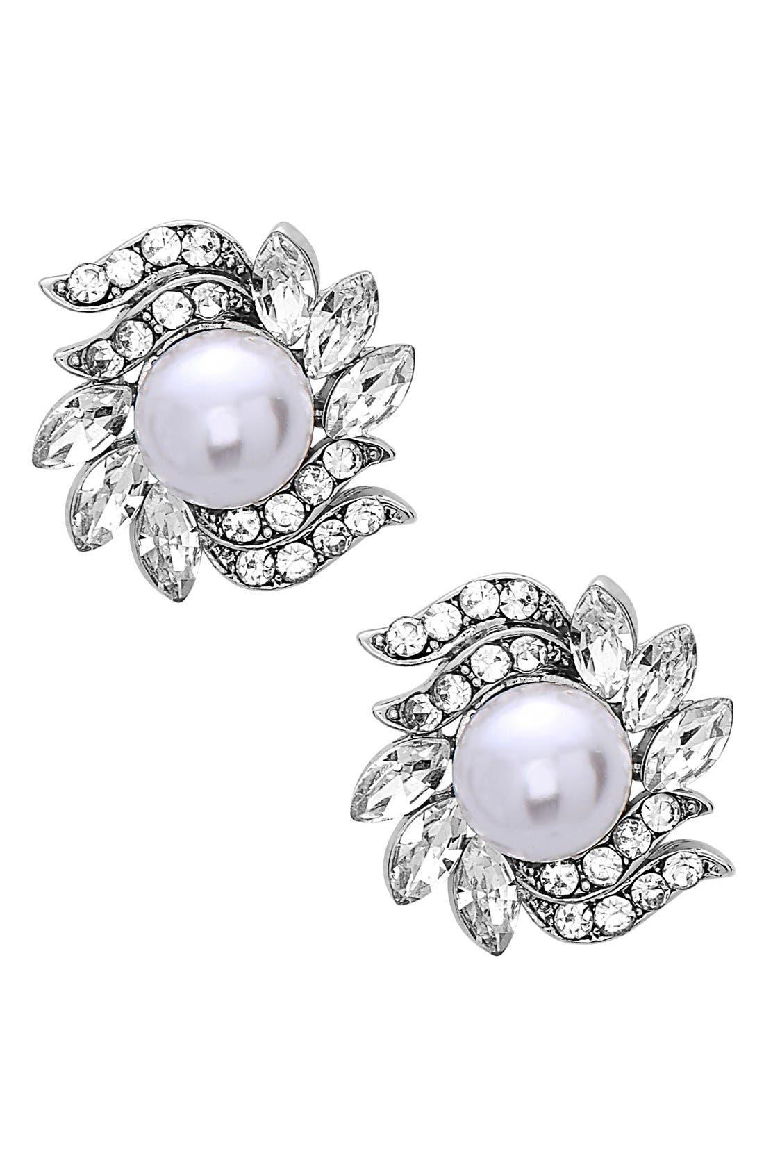 Alternate Image 1 Selected - Nina Crystal & Faux Pearl Floral Stud Earrings