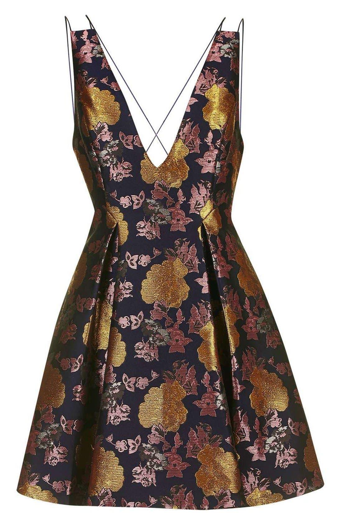 Alternate Image 4  - Topshop Floral Jacquard Plunge Minidress