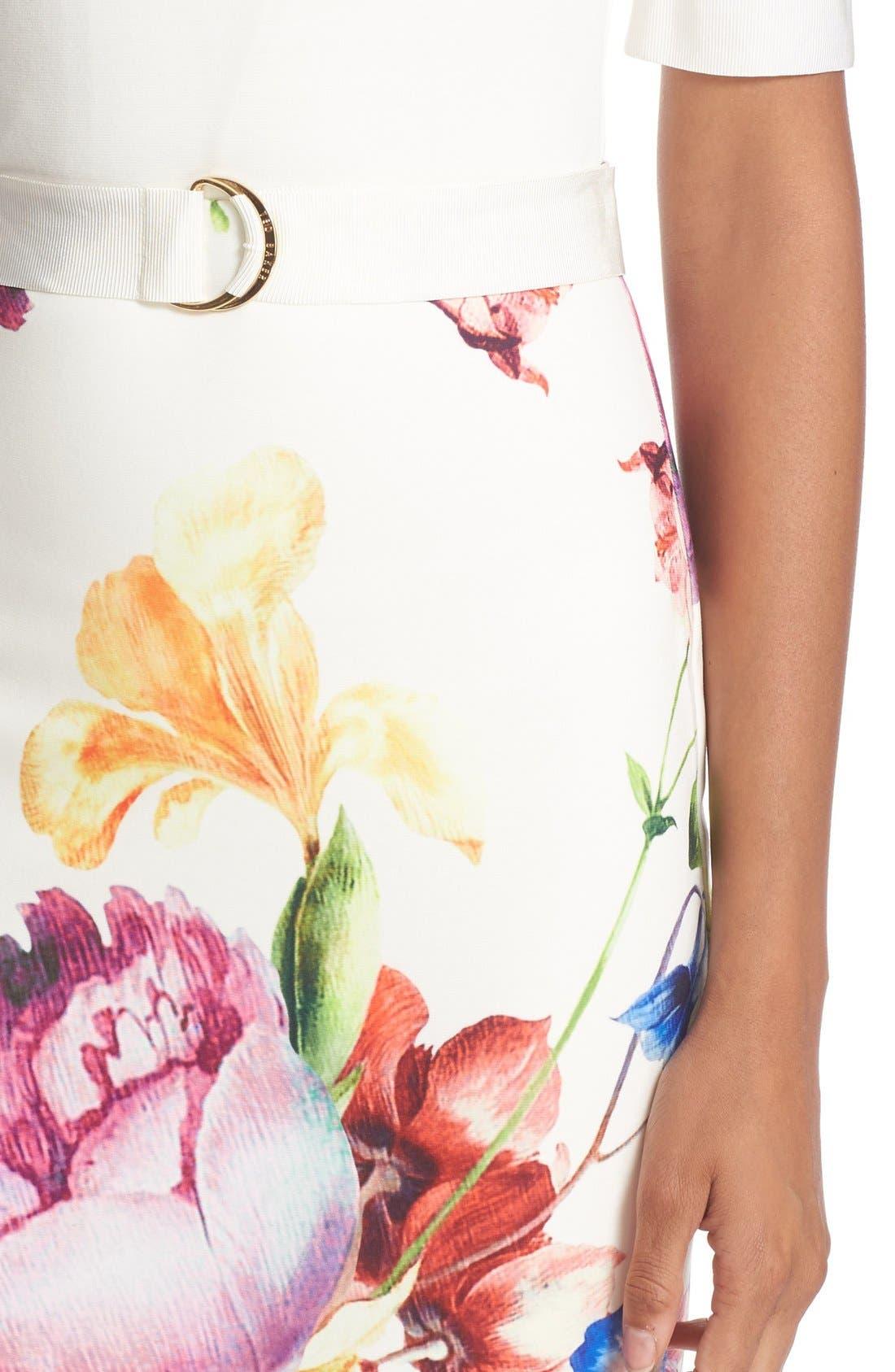 Alternate Image 4  - Ted Baker London 'Tapestry Floral' Belted Print Midi Sheath Dress