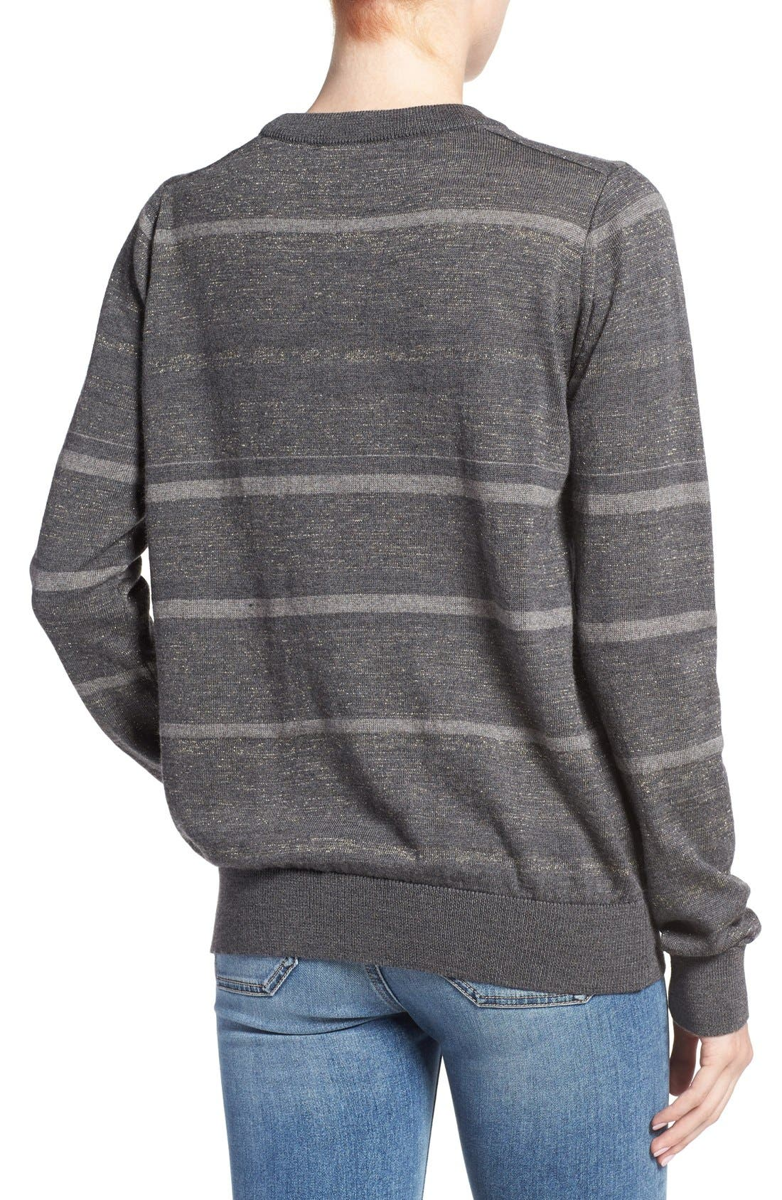 Alternate Image 2  - M.i.h. Jeans 'Falls' Metallic Stripe Merino Wool Sweater