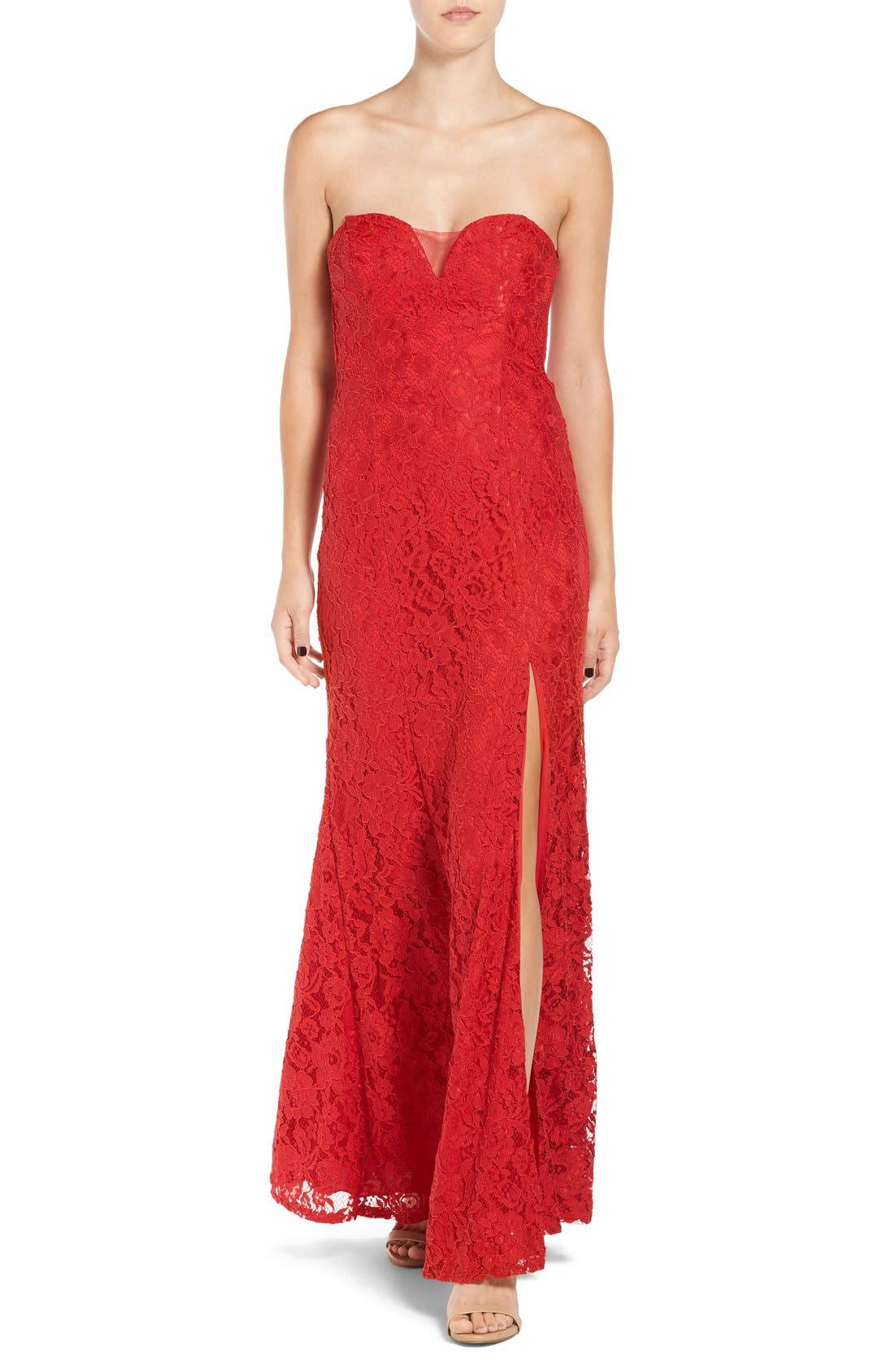Main Image - Sequin Hearts Strapless Lace Gown