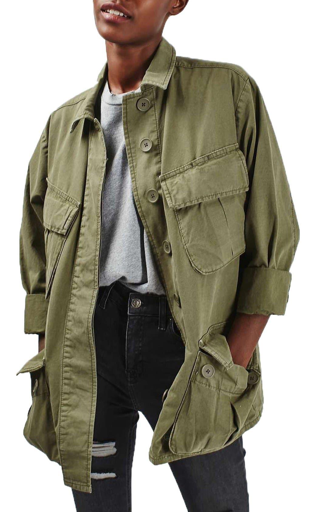 Main Image - Topshop Oversize Army Shirt Jacket