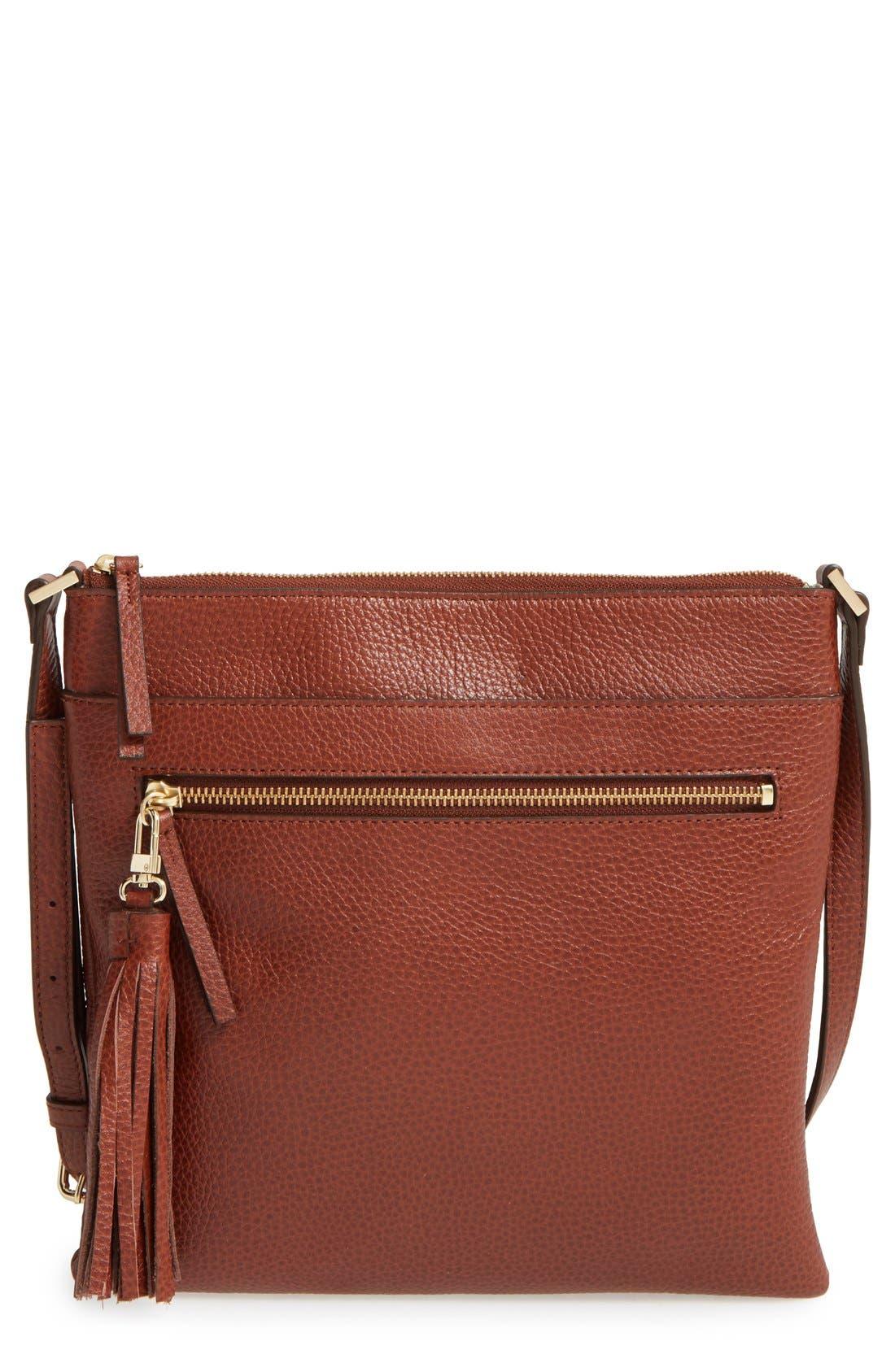 Halogen® Tasseled Leather Crossbody Bag