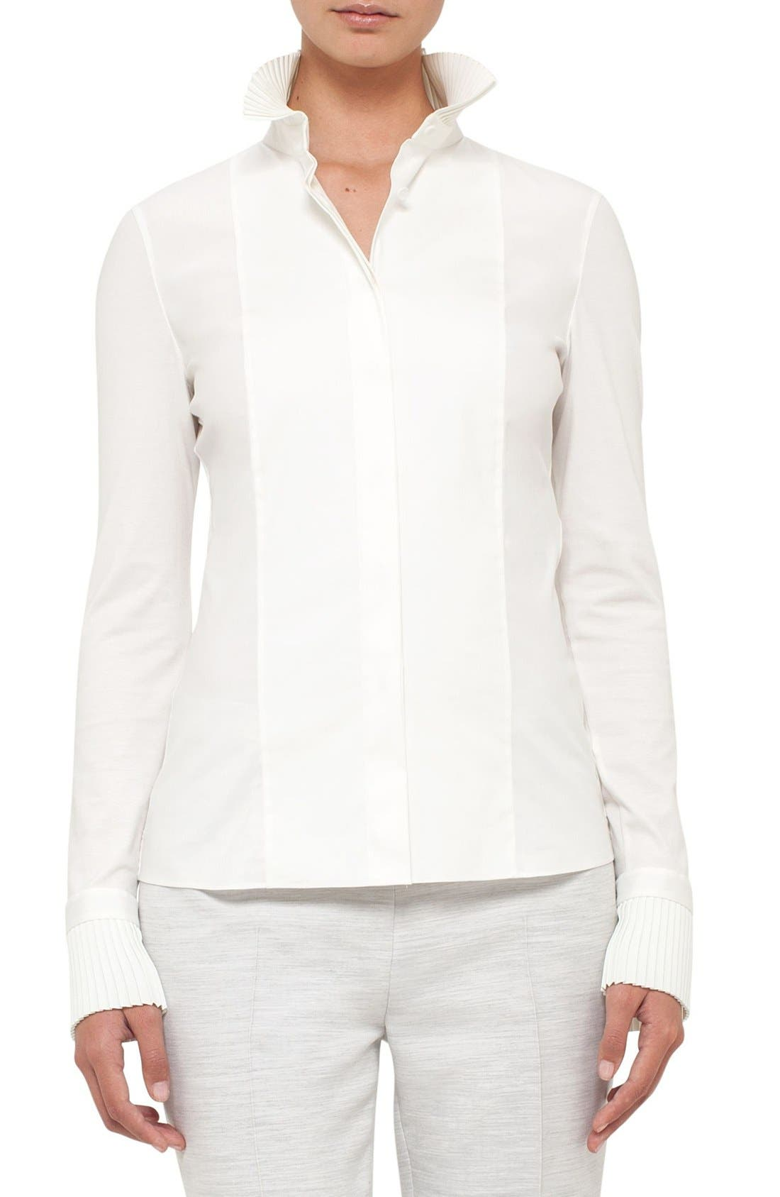 AKRIS PUNTO Pleated Collar Poplin & Jersey Blouse