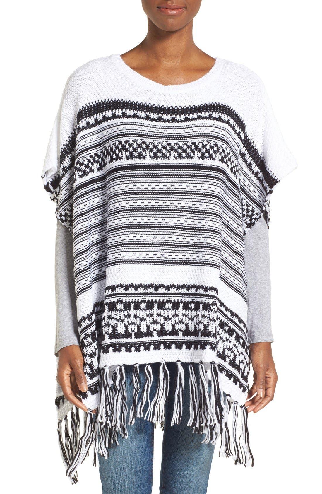Main Image - BCBGeneration Stripe Knit Poncho