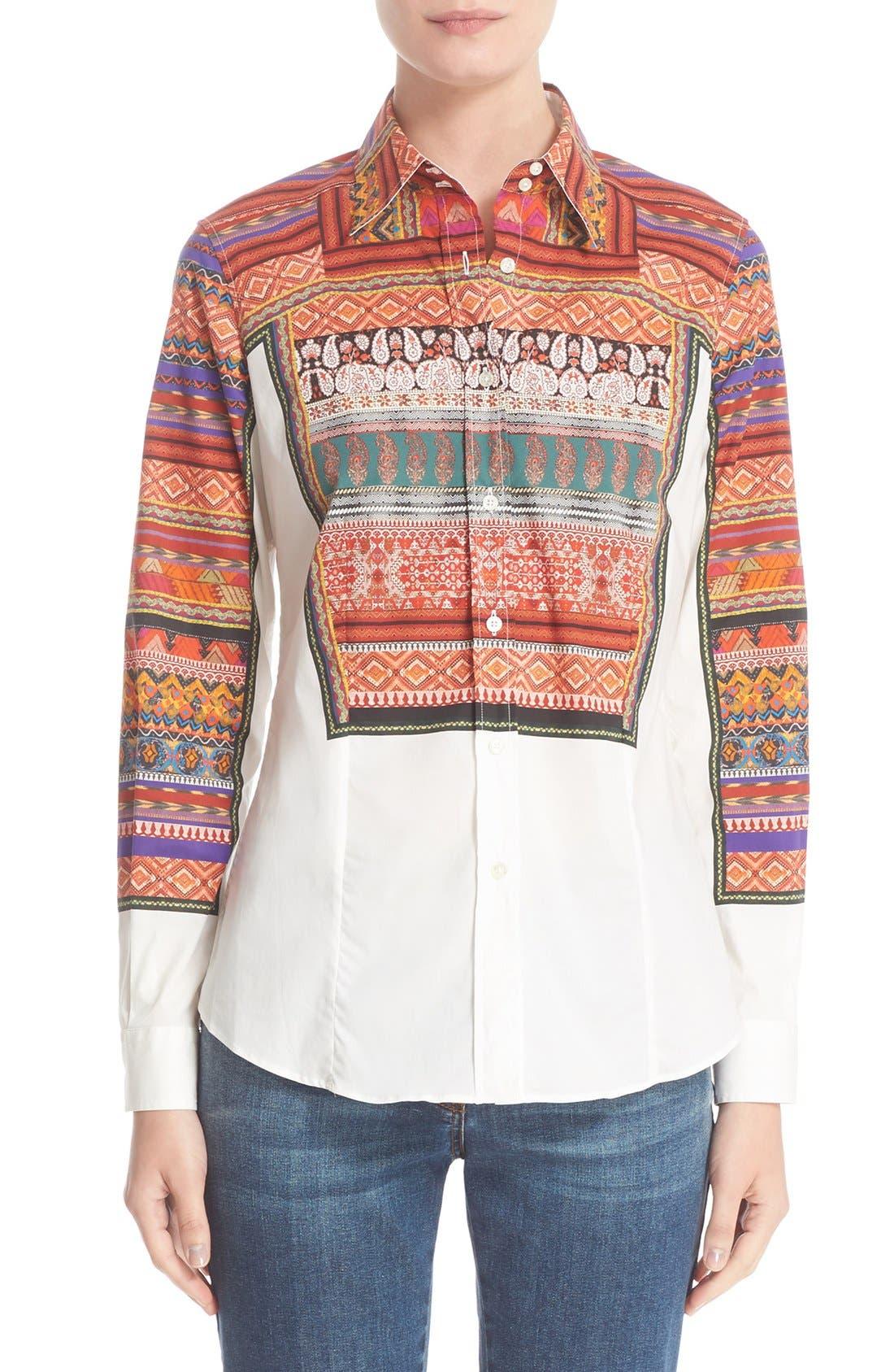 ETRO Ribbon Print Stretch Cotton Shirt