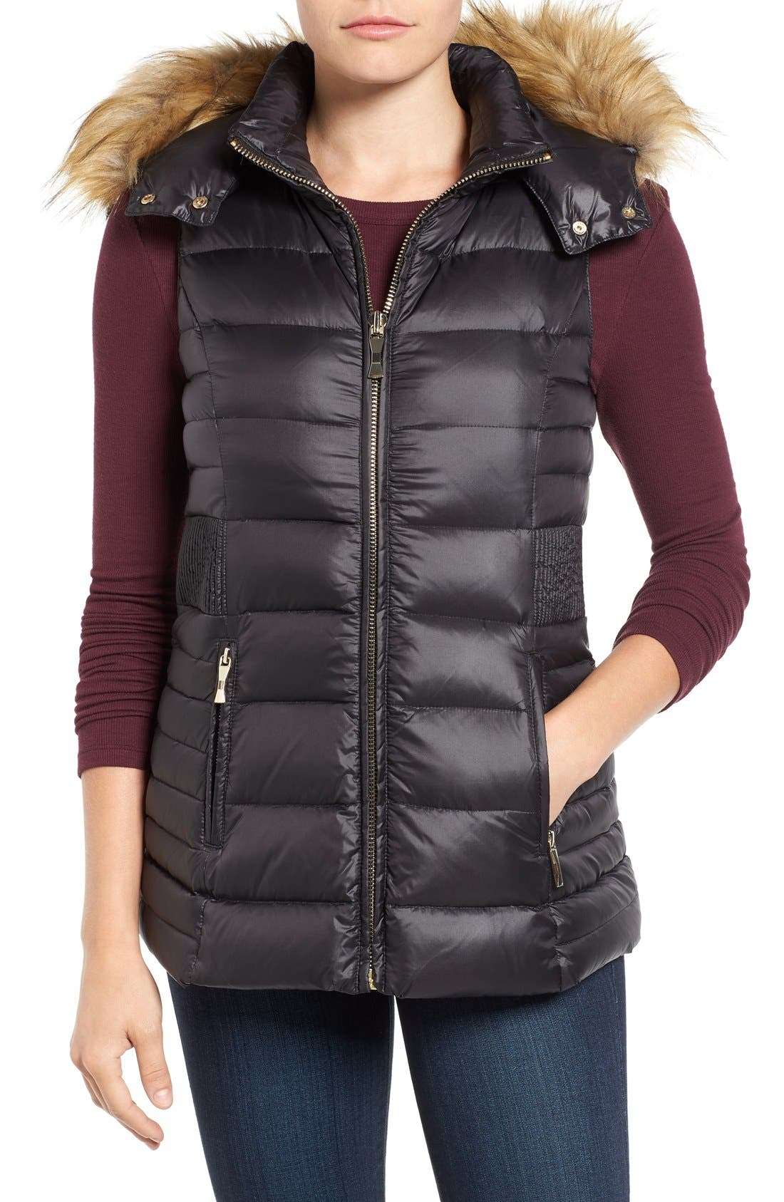 Main Image - kate spade new york down vest with faux fur trim
