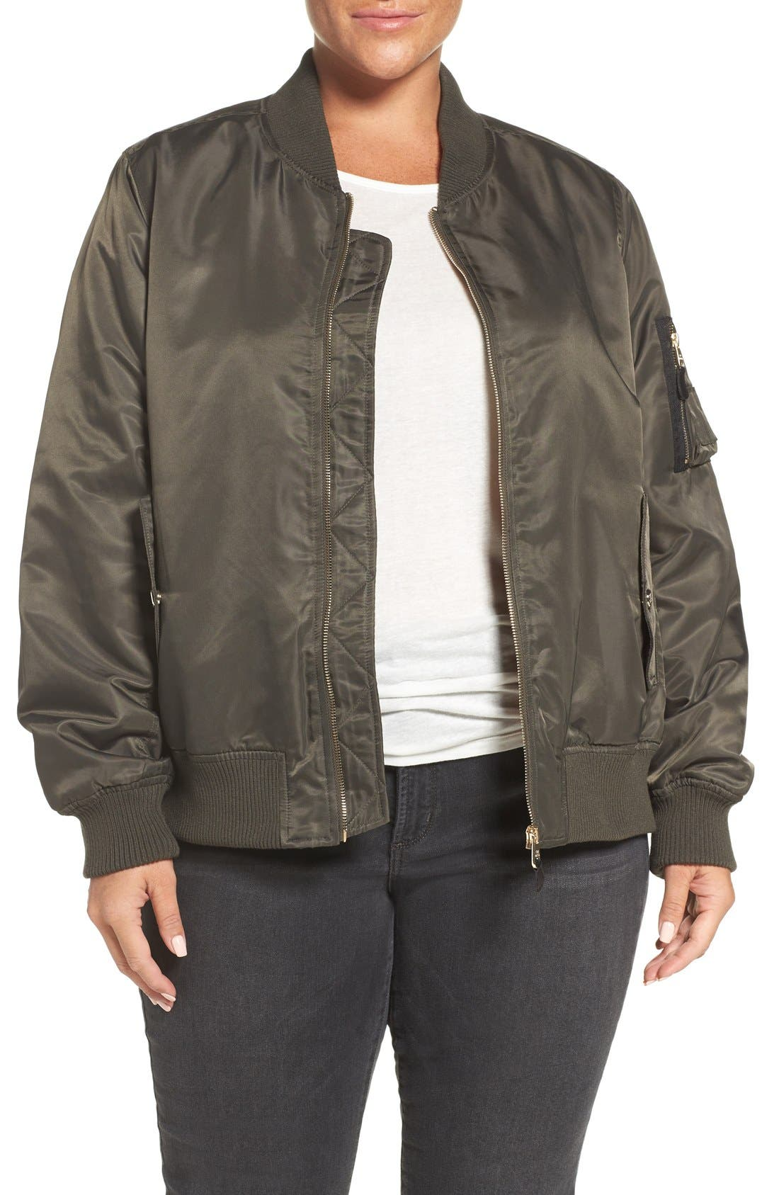 Steve Madden Flight Side Zip Bomber Jacket (Plus Size)