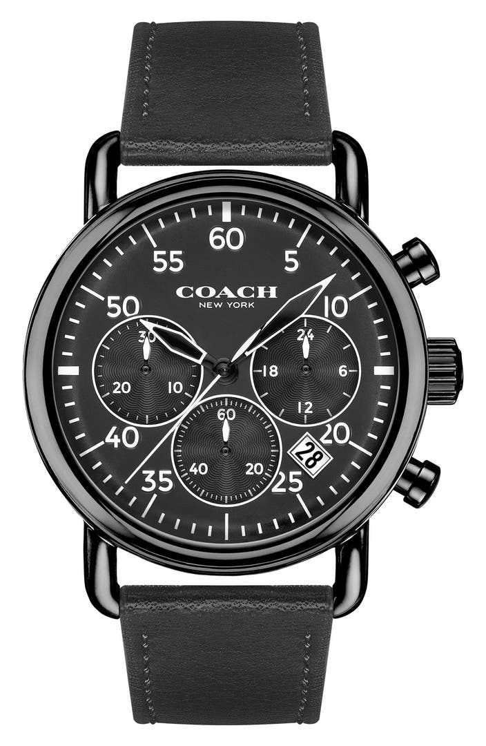 Coach 39 delancey 39 chronograph leather strap watch 42mm nordstrom for Leather strap watches
