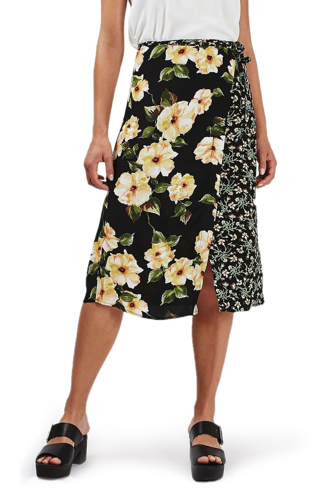 Alternate Image 1 Selected - Topshop 'Busy Garden' Floral Print Wrap Midi Skirt
