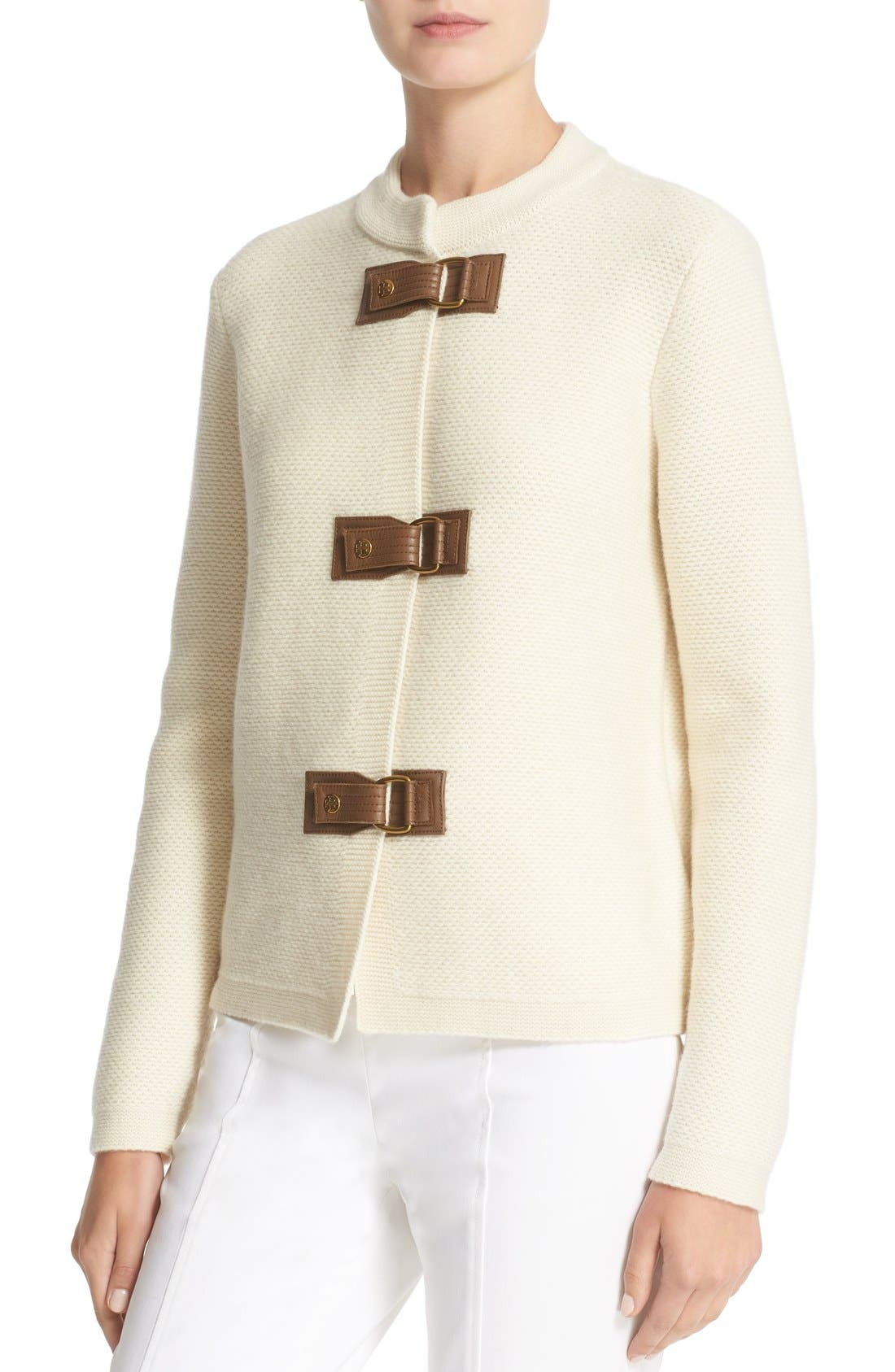 Alternate Image 4  - Tory Burch 'Ross' Leather Tab Merino Wool Cardigan