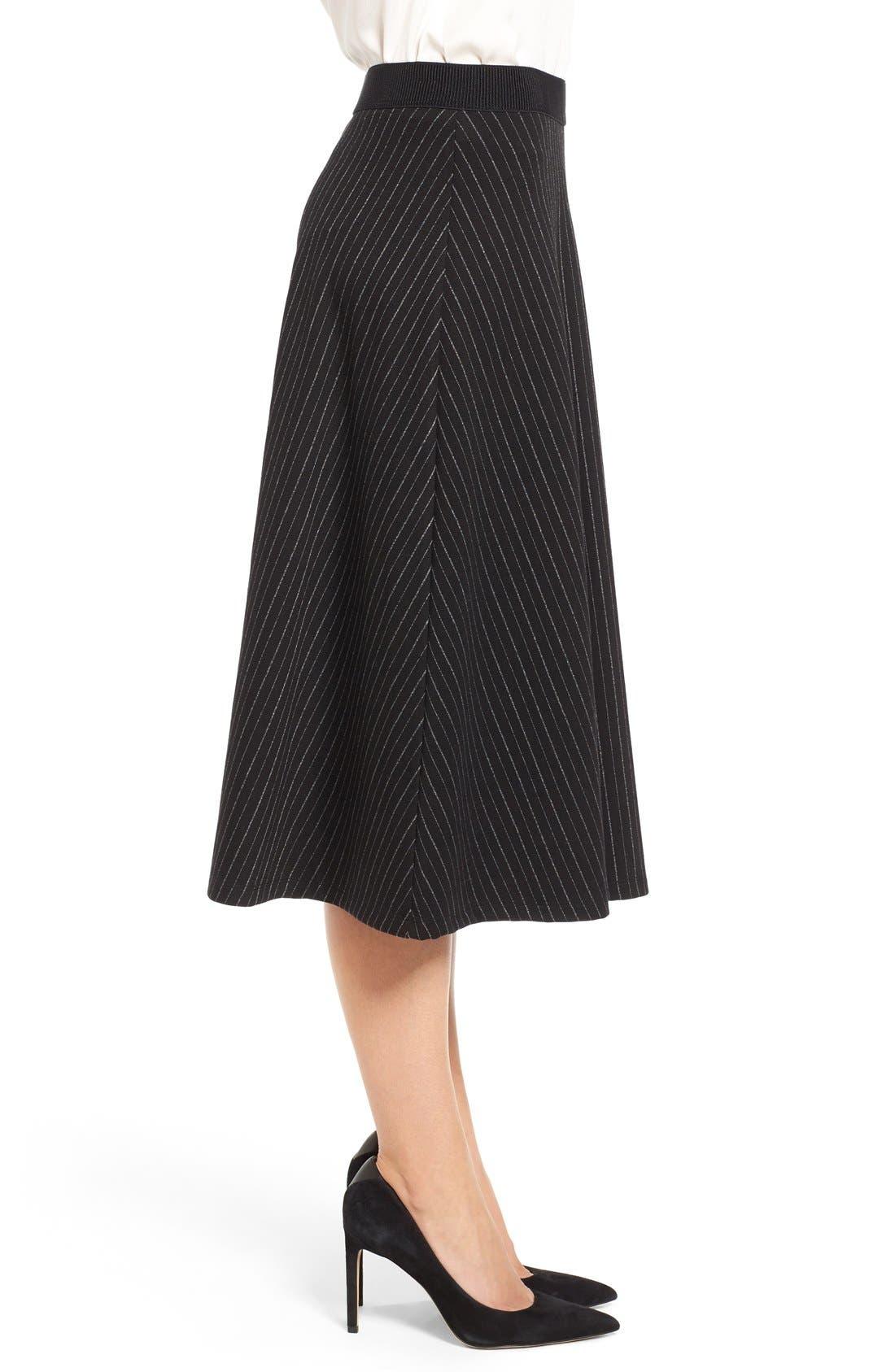 Alternate Image 3  - Bobeau Pinstripe A-Line Midi Skirt