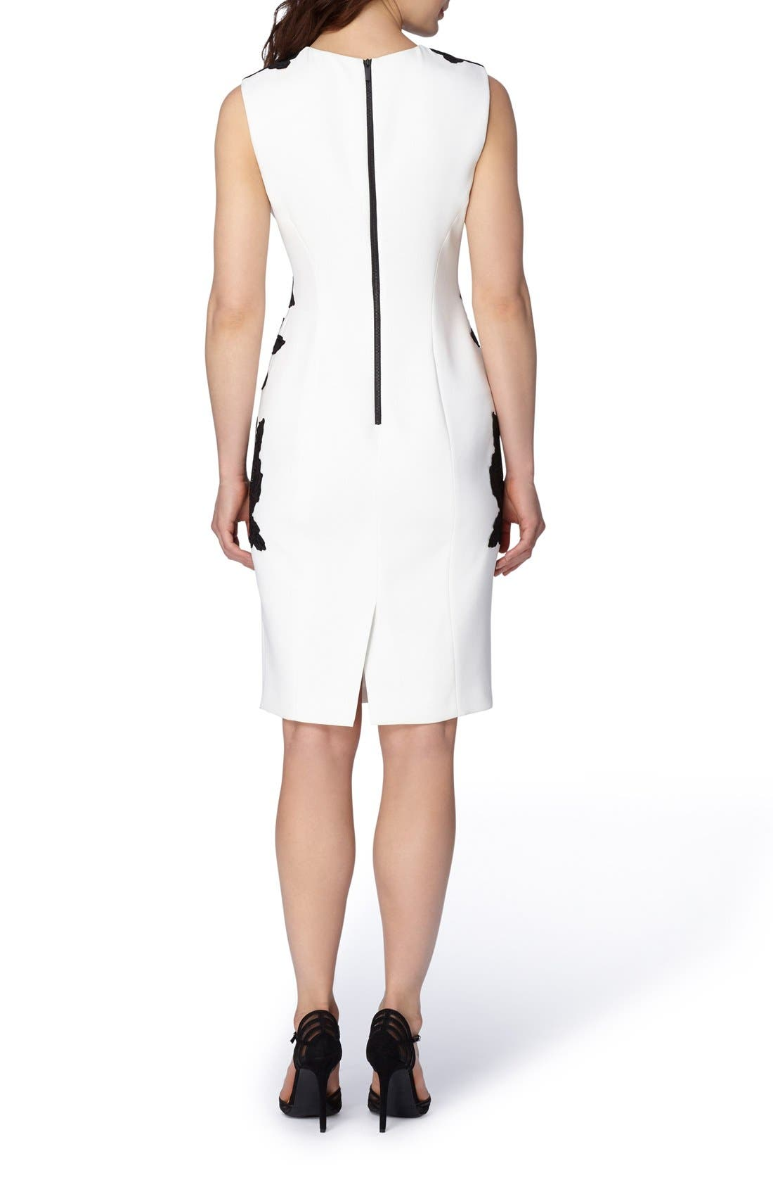 Alternate Image 2  - Tahari Appliqué Crepe Sheath Dress (Regular & Petite)