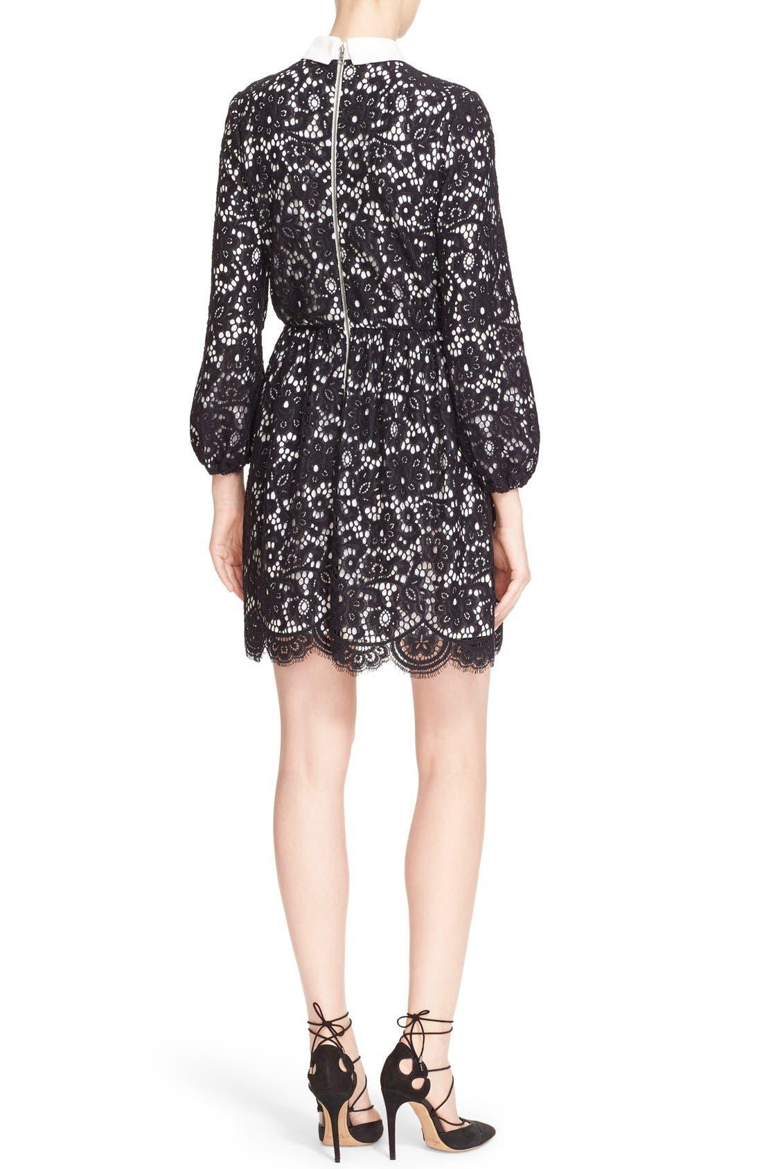 Alternate Image 2  - Alice + Olivia 'Terisa' Collared Blouson Sleeve Lace Dress