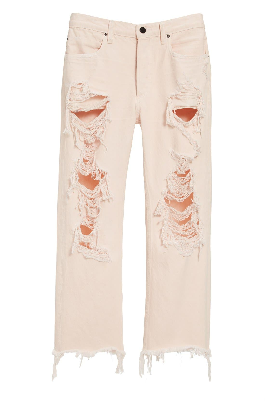Alternate Image 1 Selected - Alexander Wang 'Rival' Destroyed Cutoff Jeans (Carnation)