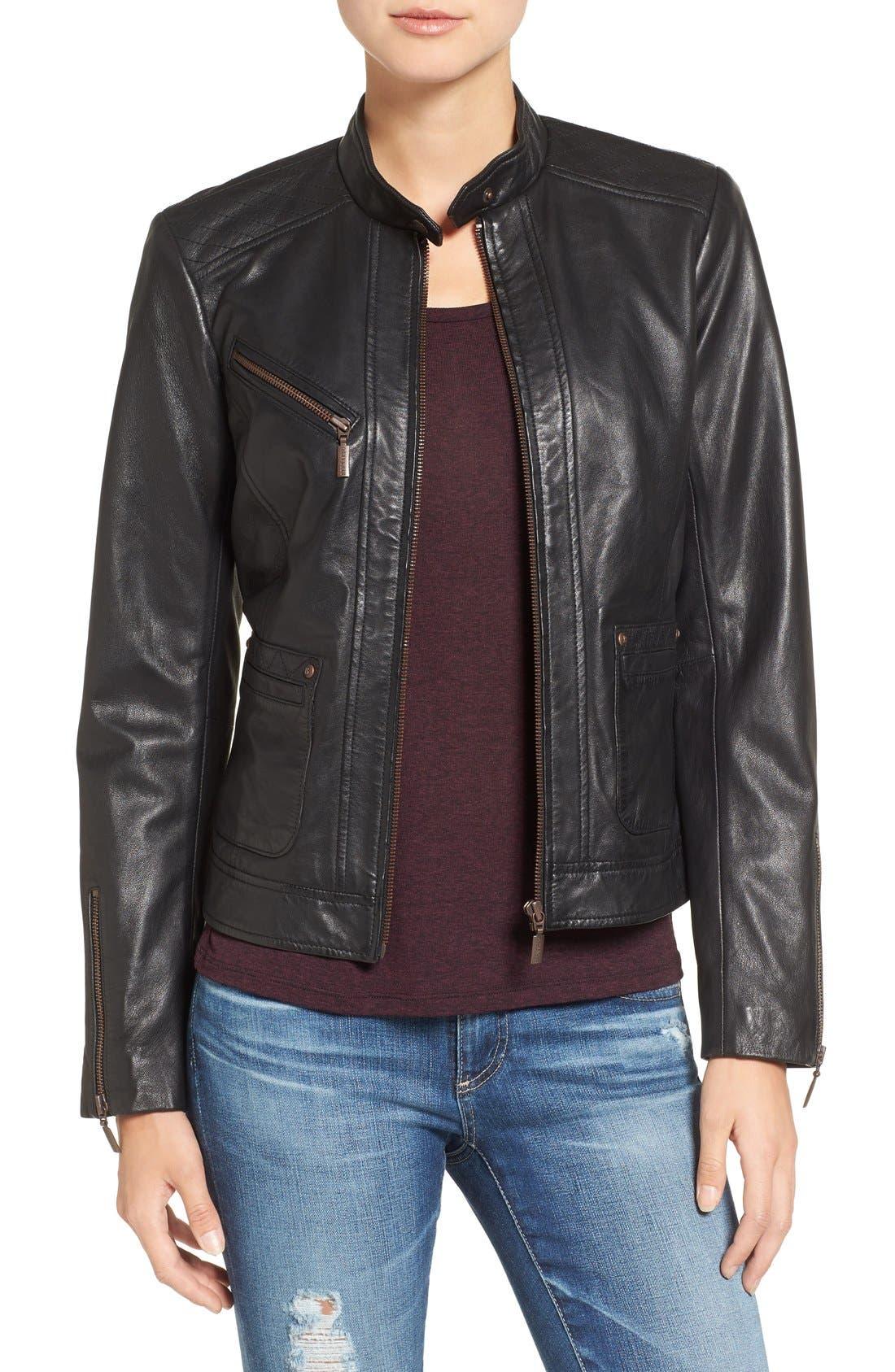 Alternate Image 1 Selected - Bernardo Kirwin Leather Jacket (Regular & Petite)