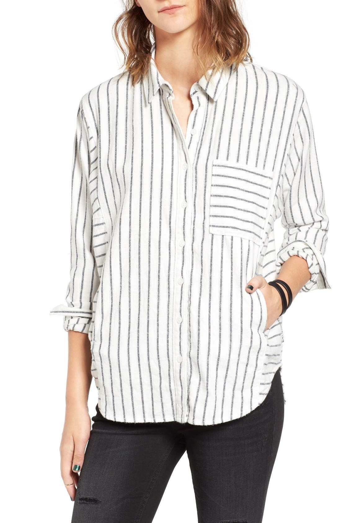 Main Image - BP. Stripe Flannel Shirt