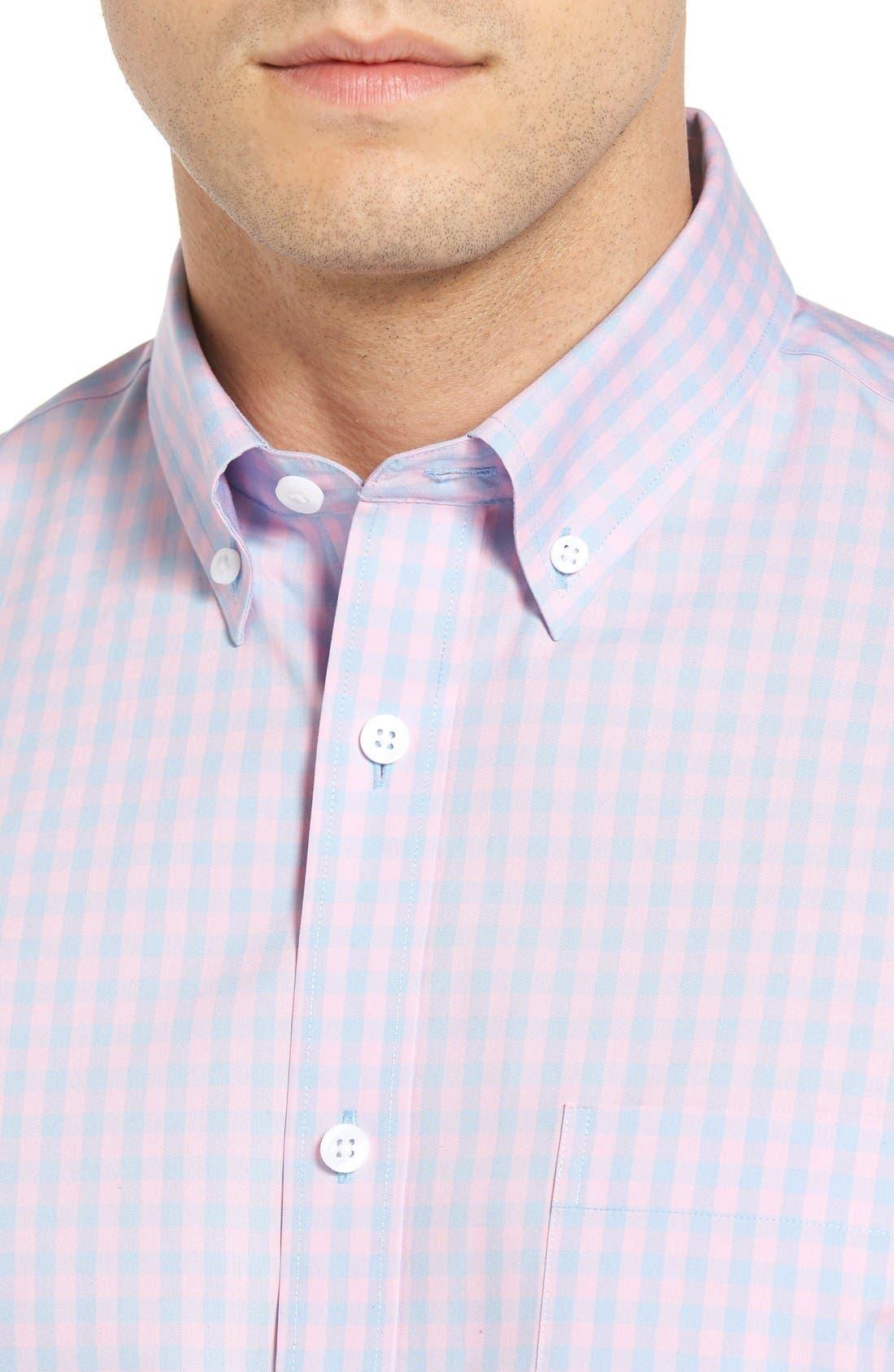 Alternate Image 4  - Nordstrom Men's Shop Smartcare™ Regular Fit Check Sport Shirt (Tall)