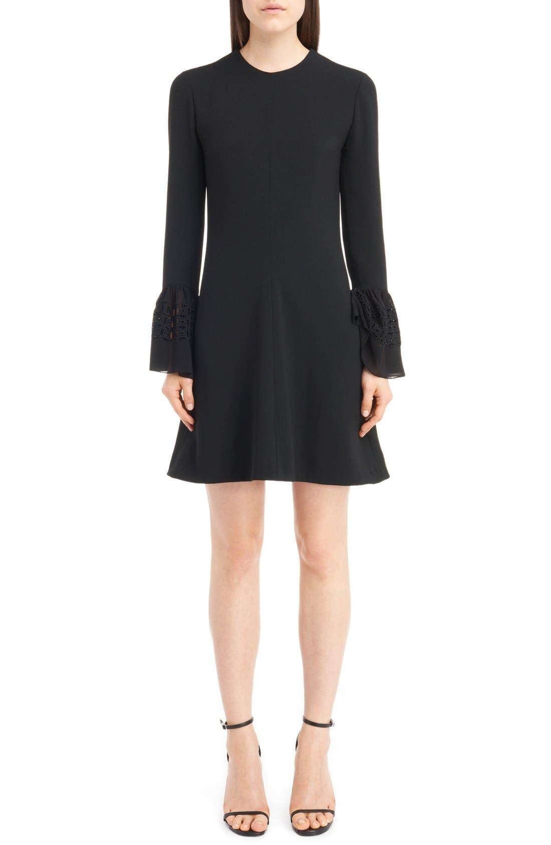 Main Image - Saint Laurent Lace Flutter Sleeve Babydoll Dress