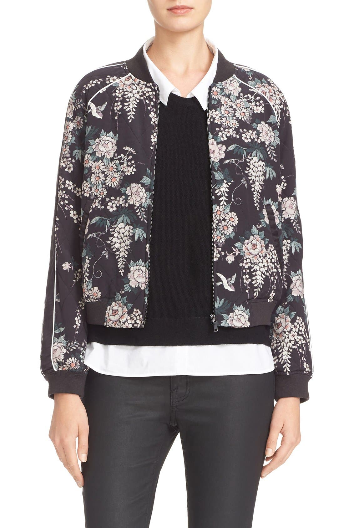Main Image - Joie Mace Print Quilted Silk Baseball Jacket