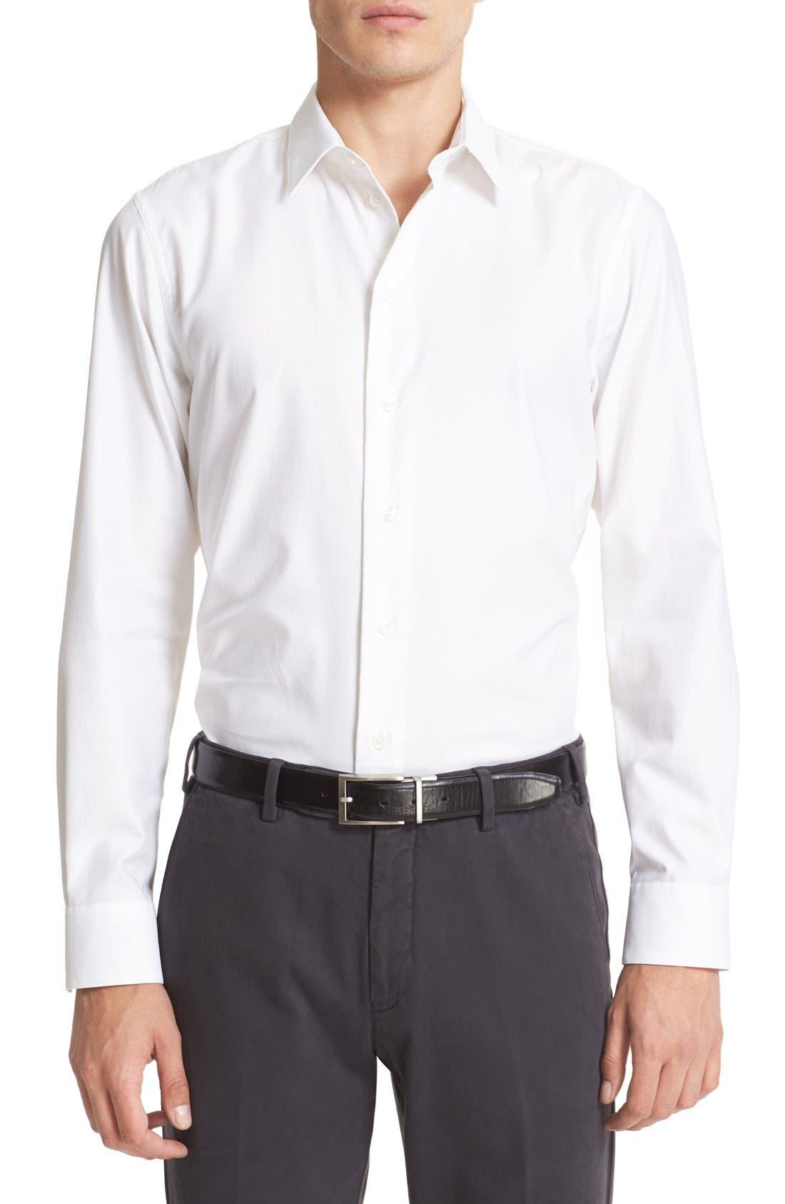 ARMANI COLLEZIONI Trim Fit Texture Woven Sport Shirt