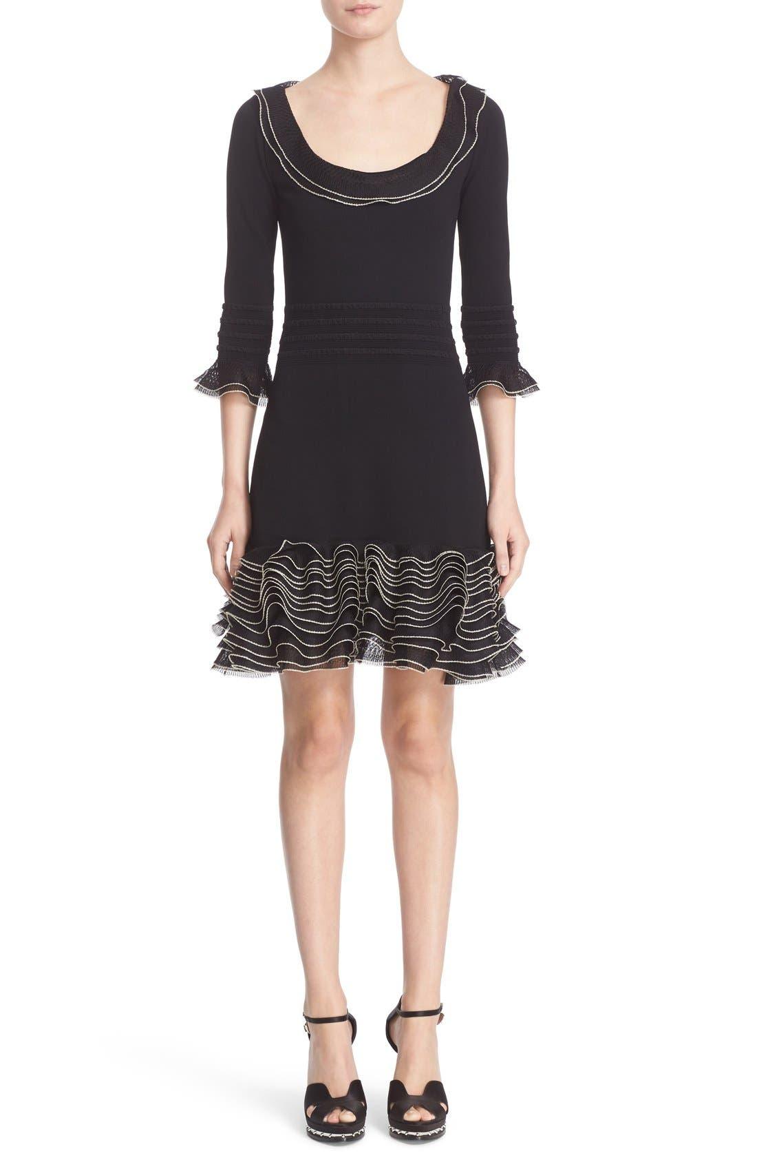 ALEXANDER MCQUEEN Graphic Frill Knit Dress