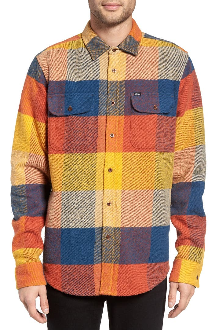 Obey wallace trim fit check flannel shirt nordstrom for Trim fit flannel shirts