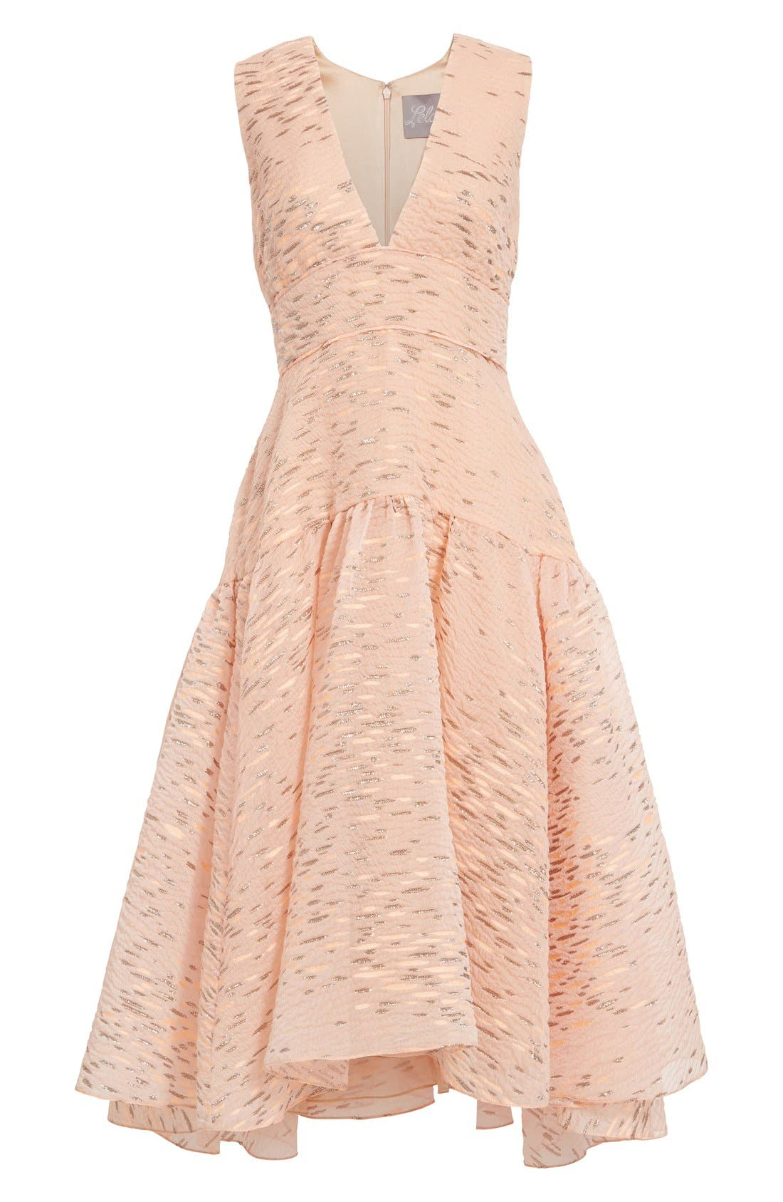 Alternate Image 4  - Lela Rose Minnow Metallic Fil Coupé Dress