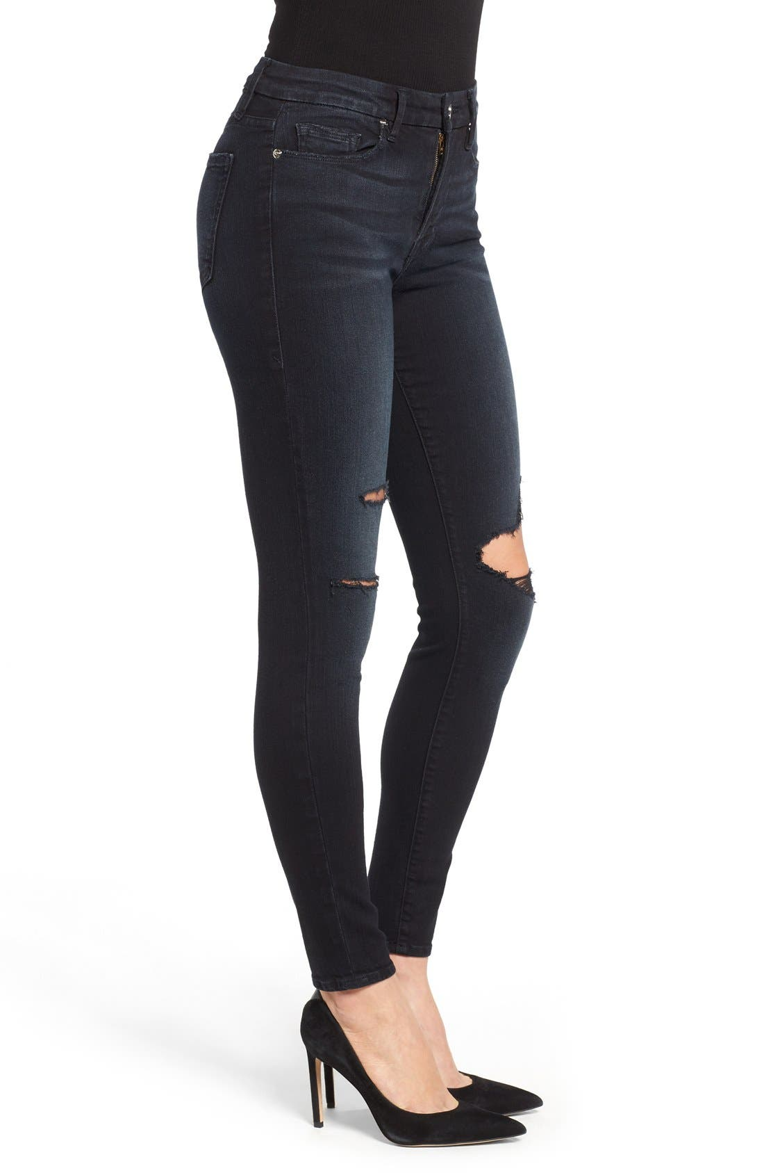 Alternate Image 7  - Good American Good Legs High Rise Ripped Skinny Jeans