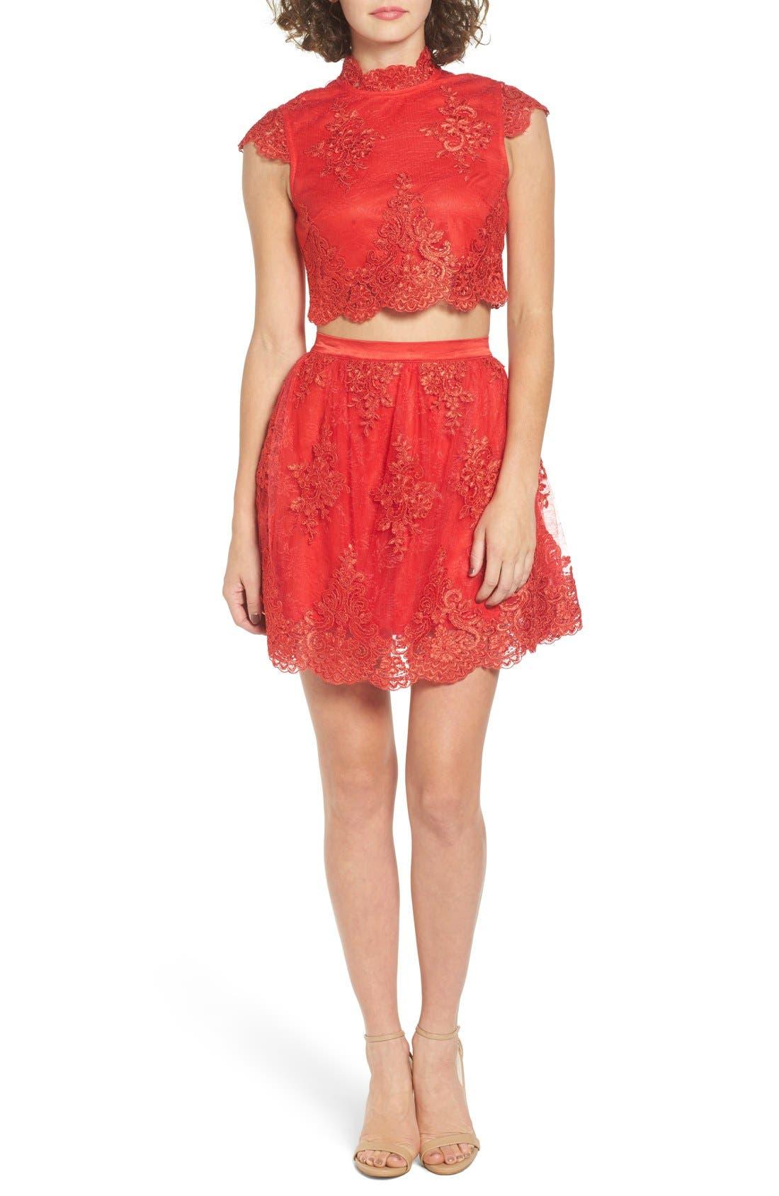 Main Image - a. drea Lace Cap Sleeve Two-Piece Skater Dress