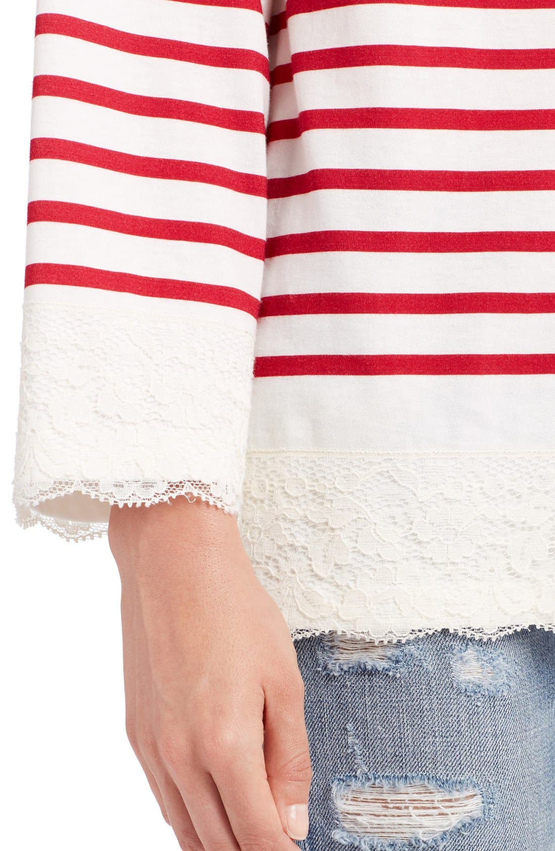 Alternate Image 6  - Dolce&Gabbana Lace Stripe Tee