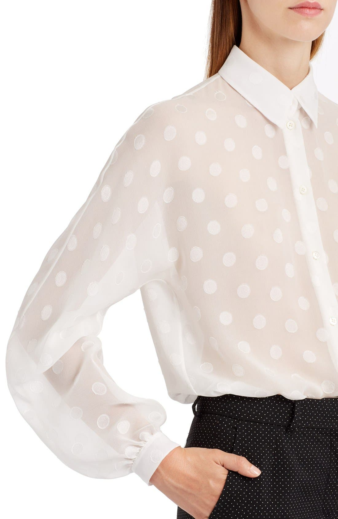 Alternate Image 5  - Dolce&Gabbana Dot Fil Coupé Blouse