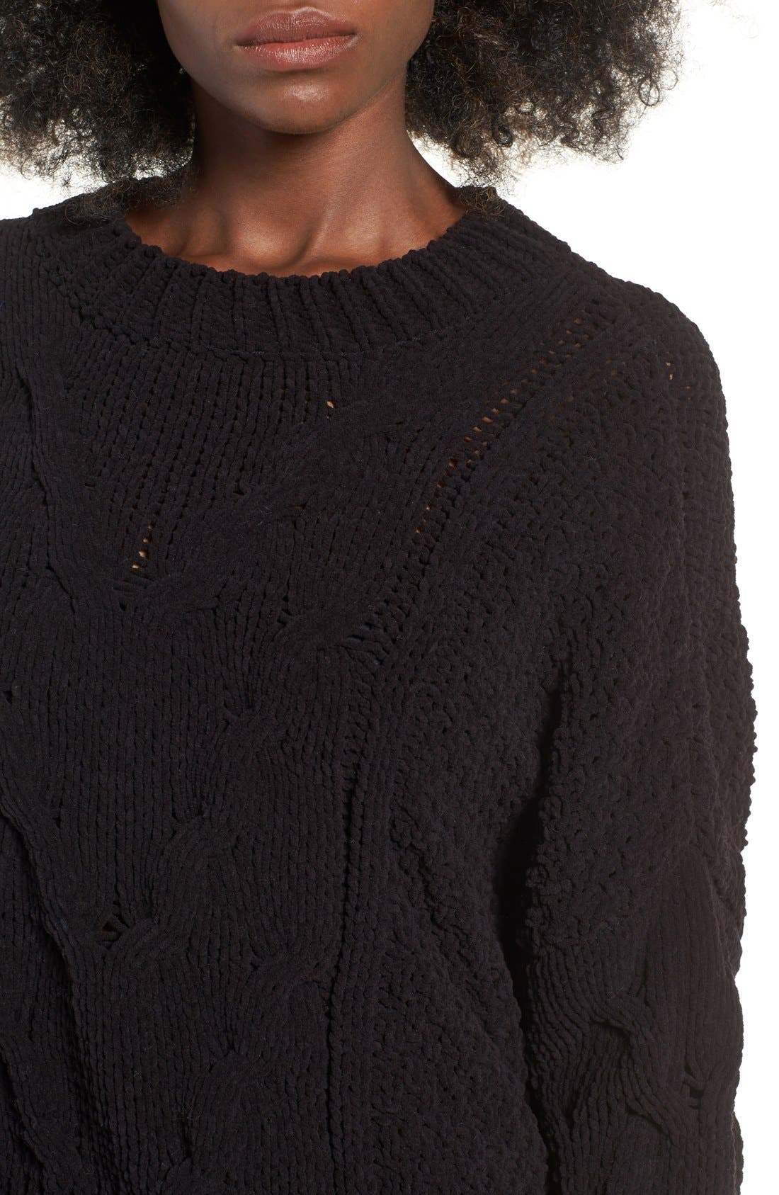 Alternate Image 4  - J.O.A. Boxy Cable Knit Sweater