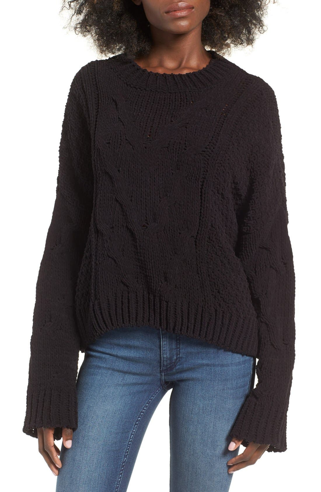 Main Image - J.O.A. Boxy Cable Knit Sweater