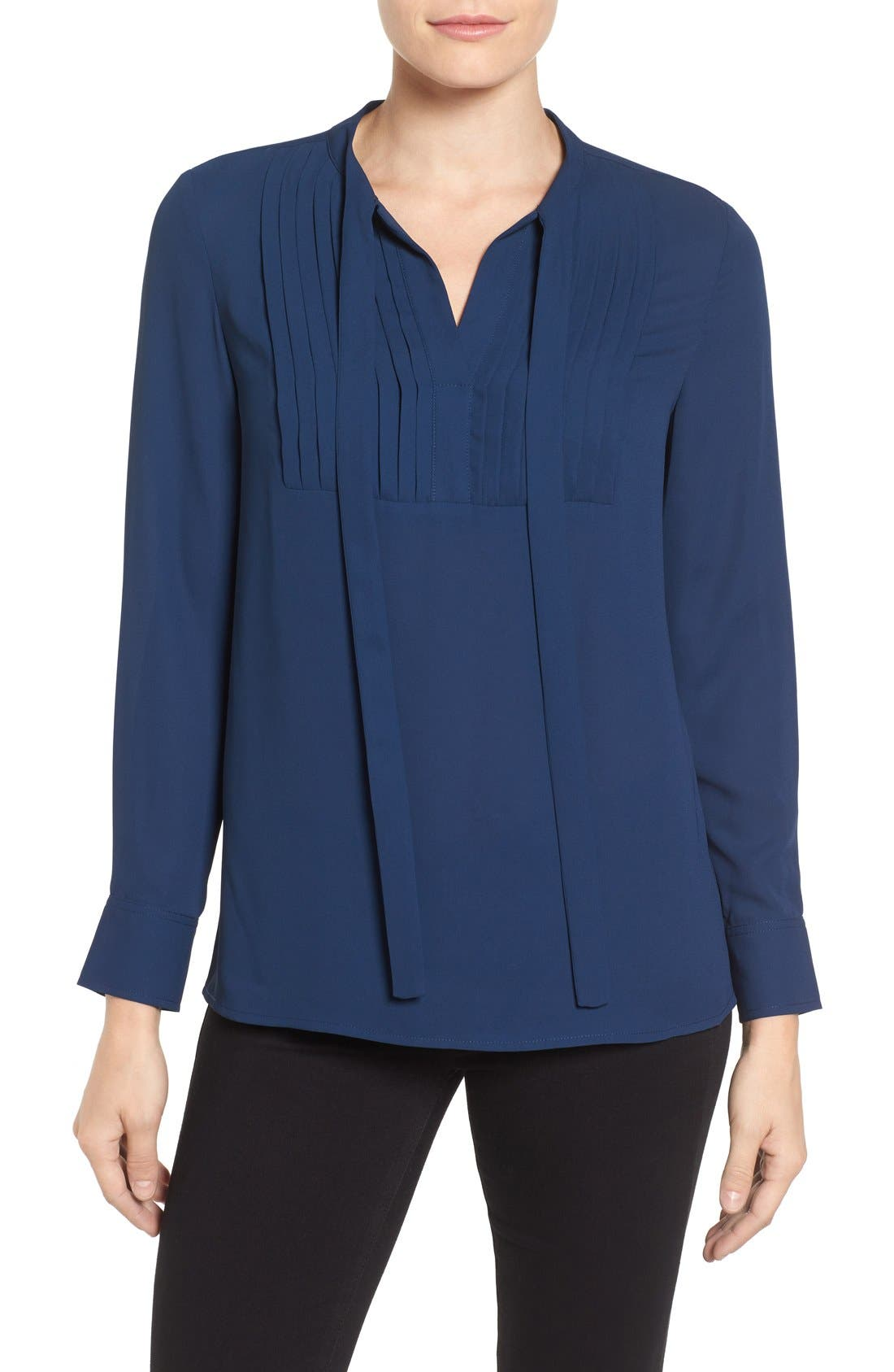 Alternate Image 1 Selected - Vince Camuto Tie Neck Pleat Tuxedo Blouse