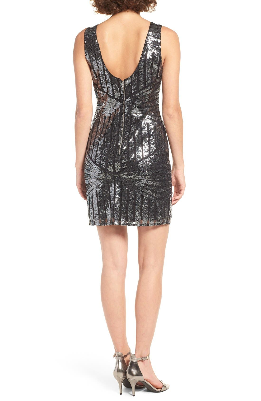 Alternate Image 2  - One Clothing Geometric Sequin Minidress