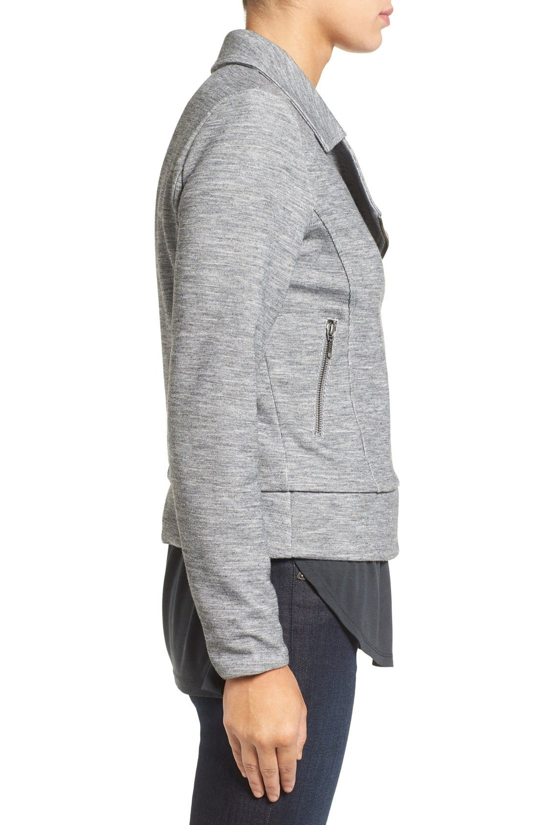 Alternate Image 3  - Halogen® Texture Knit Moto Jacket