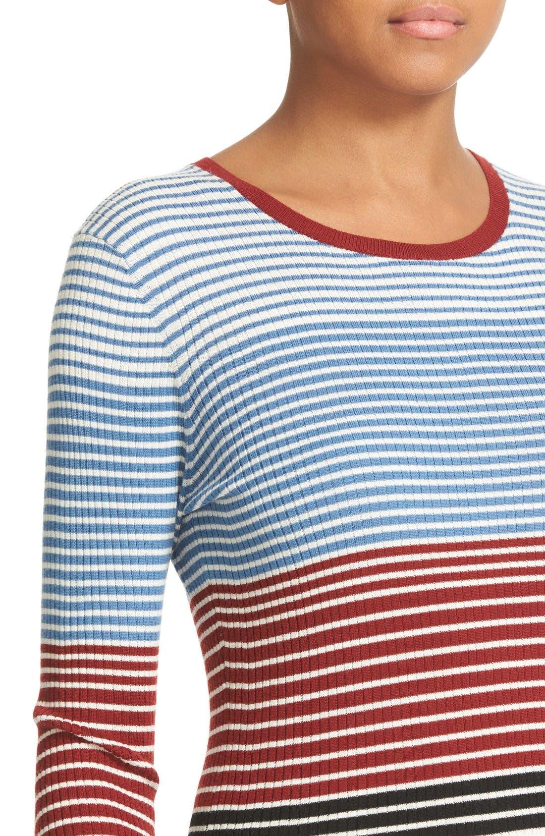 Alternate Image 4  - Theory Mirzi Stripe Rib Knit Merino Sweater