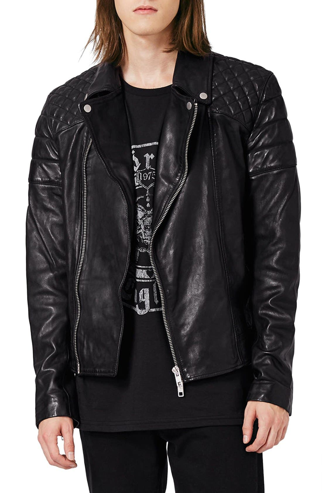 Main Image - Topman Quilted Leather Biker Jacket